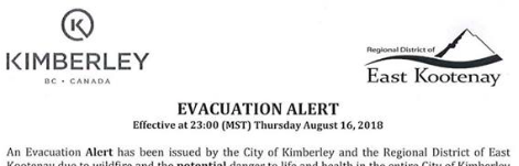 A snapshot of the evac alert from last summer. Life happens. Wildfires happen.