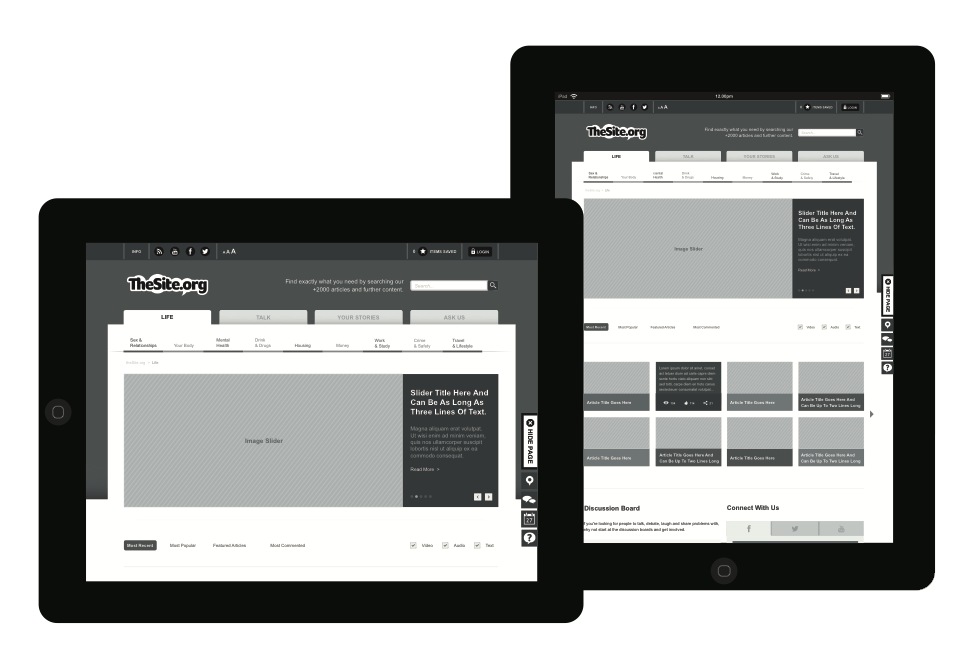 Wireframes across tablet