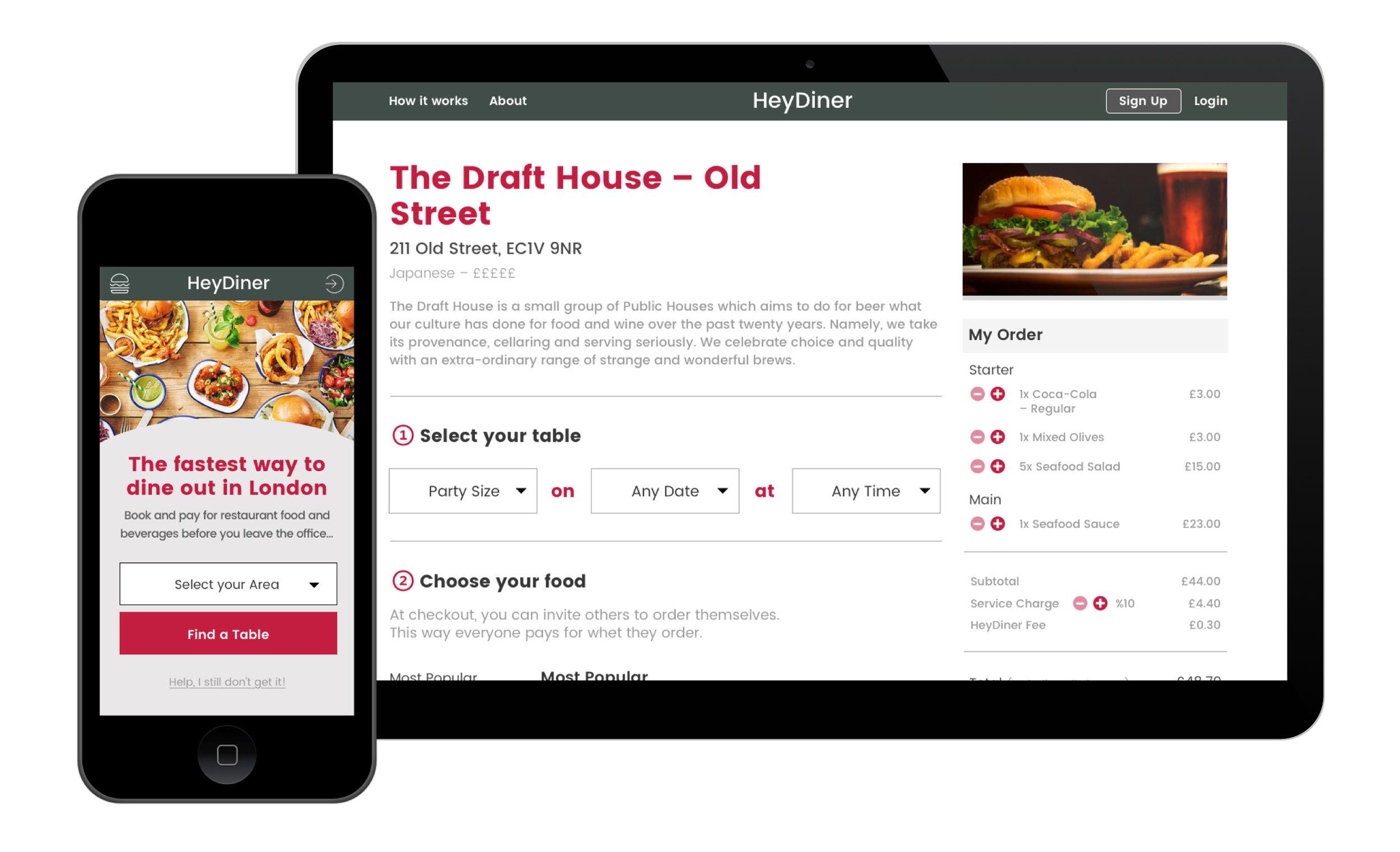 Mobile: Homepage / Desktop: Vendor Page