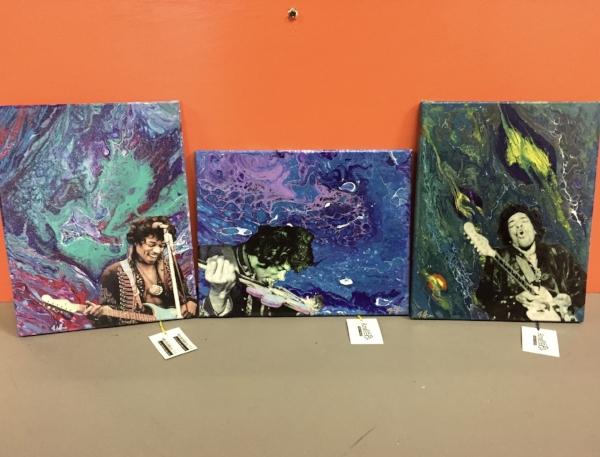 John Hunter's Jimi Hendrix canvas series, available at Andee's.