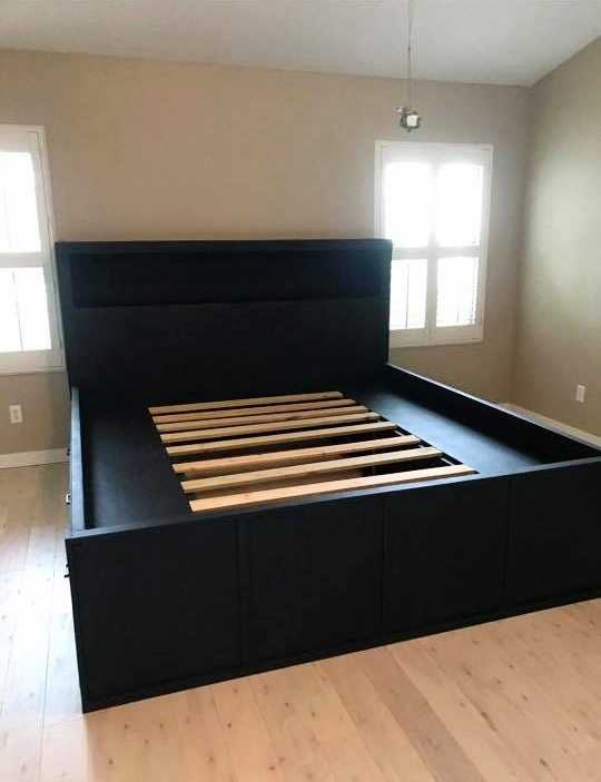 Custom Built King-Size Bed with Storage Drawers
