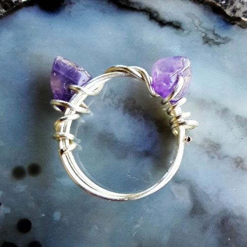 Jeana's wire and gemstone cat-ear rings.