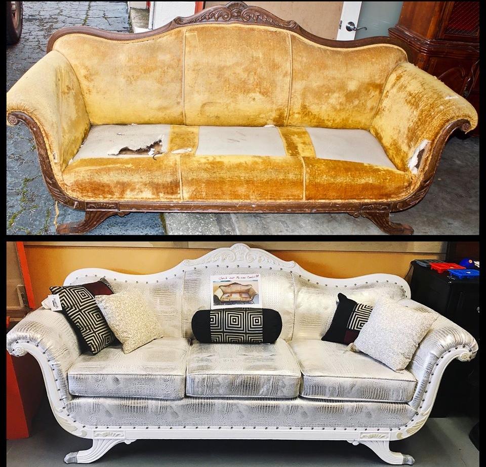 Lola Gold Croc Sofa