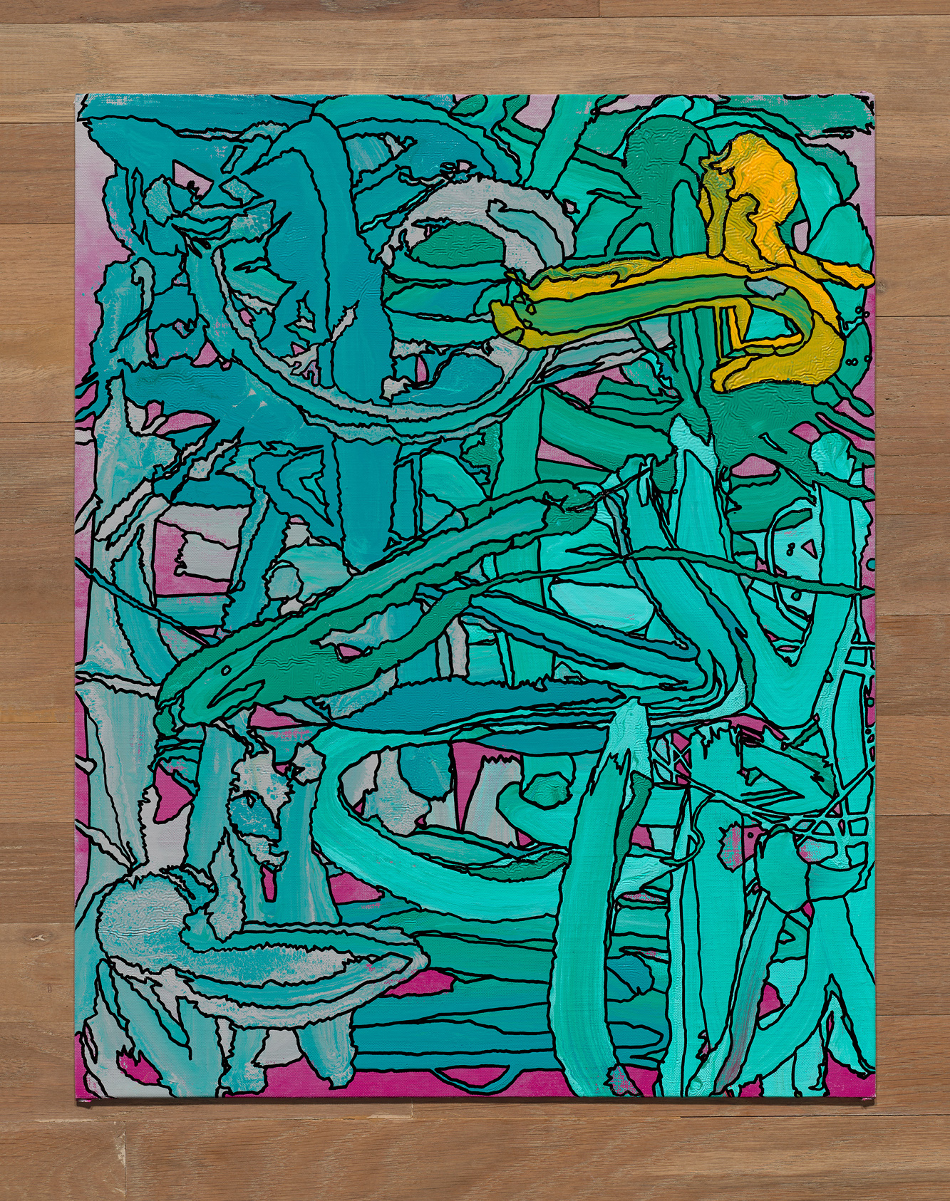 Tom Mueske, 20 x 16 inches, oil paint and marker on canvas covered board, 2019