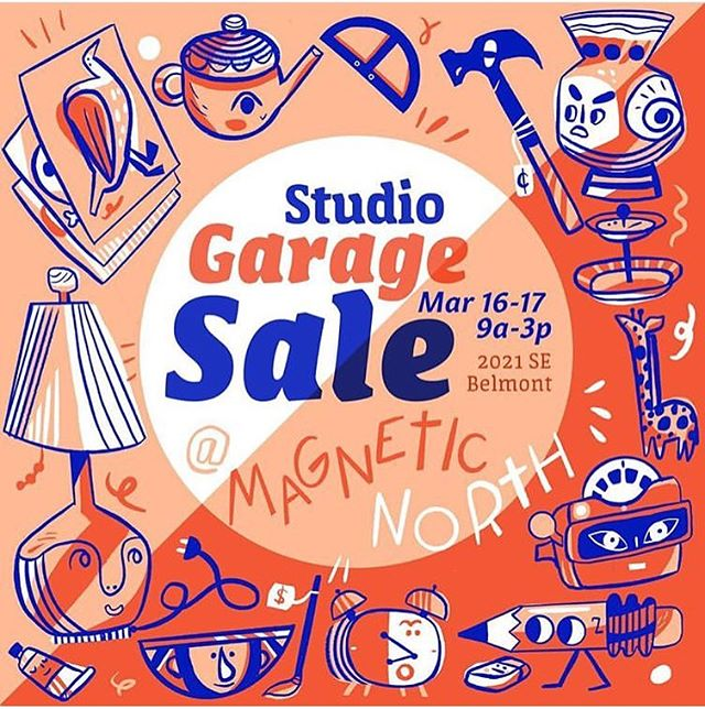 Oh hell yeah!  Gonna have a big ass #garagesale and #springcleaning at the studio next weekend! Stoked to see you all! Awesome illustration by @meghuntillo