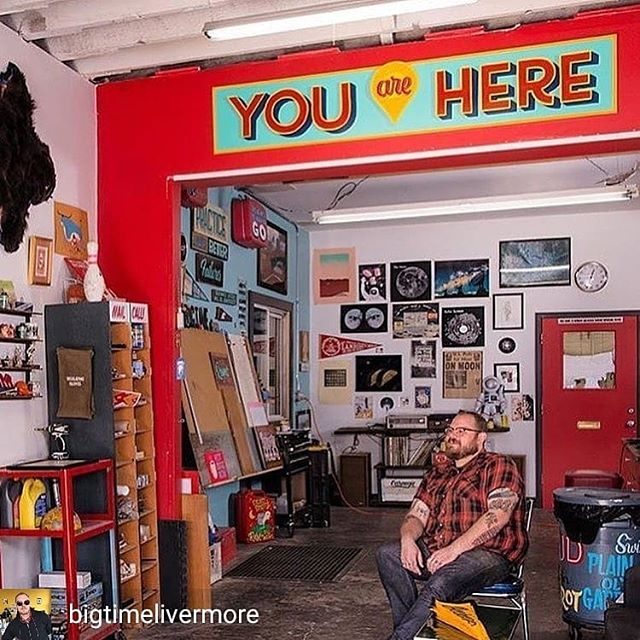 """Many of y'all know that our days are drawing to a close soon. The one and only @bigtimelivermore is auctioning off his """"You Are Here"""" painting, that has hung at MagNo since the early days, and all proceeds will go to @truenorthpdx, the new studio growing out of MagNo's ashes. Here's the details: had over to @bigtimelivermore andplace your bid in the comments on his post. Bidding will end Wednesday, June 26 at the Magnetic North closing/thank you party that night. Local pickup in Portland only, sadly, cause it's a big piece, unless you're willing to arrange shipping. Help raise some funds for @truenorthpdx, the new and improved next phase of the Portland creative community! Bid away!"""