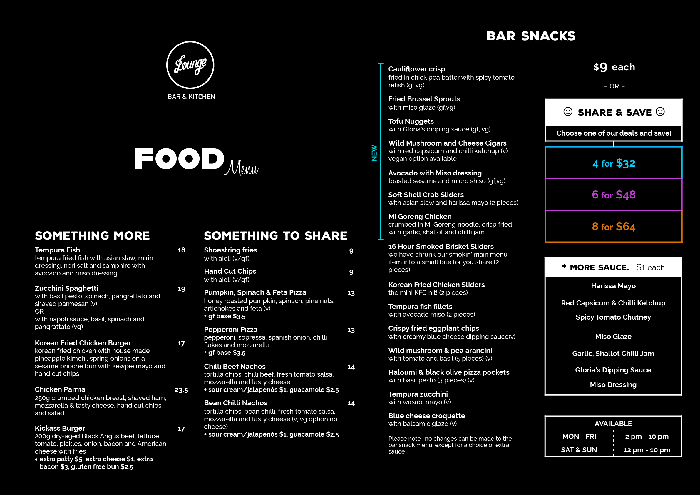 Lounge Food Menu