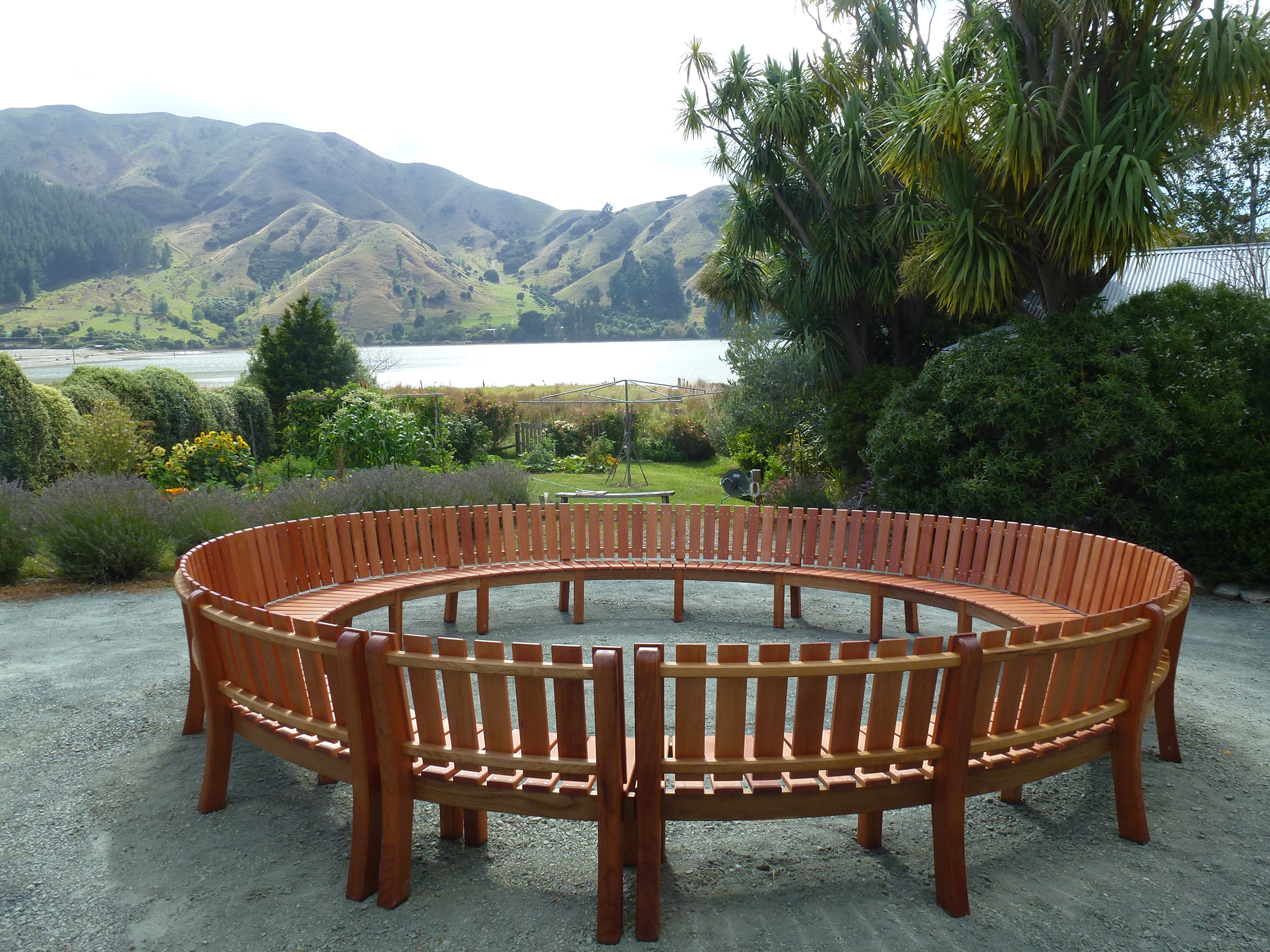 circular bench built for garden designer Andrew Fisher-Tomlin at the 2013 Ellerslie Flower Show in Christchurch. The garden won a gold award. Redwood, oak and red beech..jpg