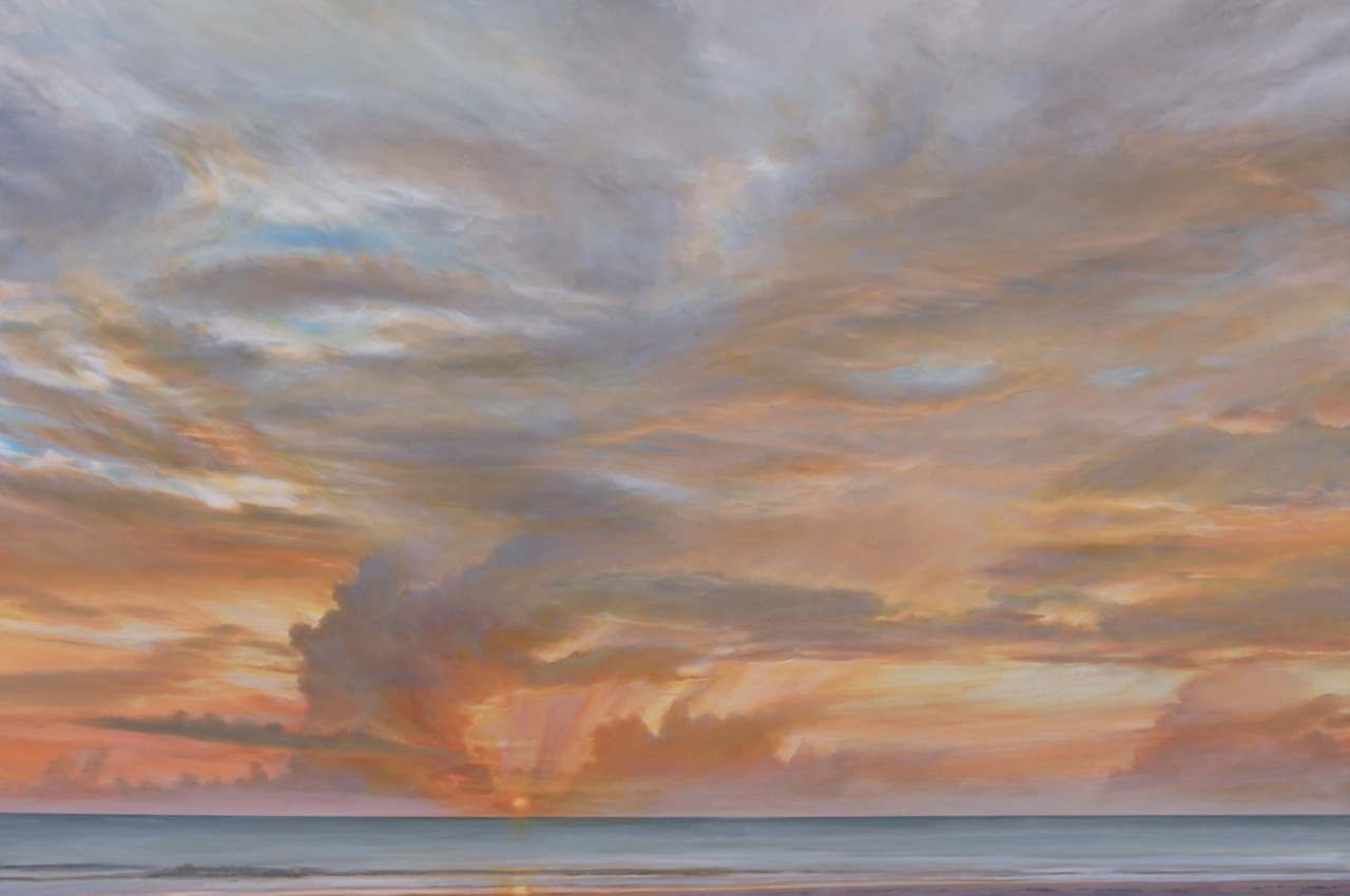 "Florida Sky 35  (sold) oil on board, 40"" x 60""  2012"