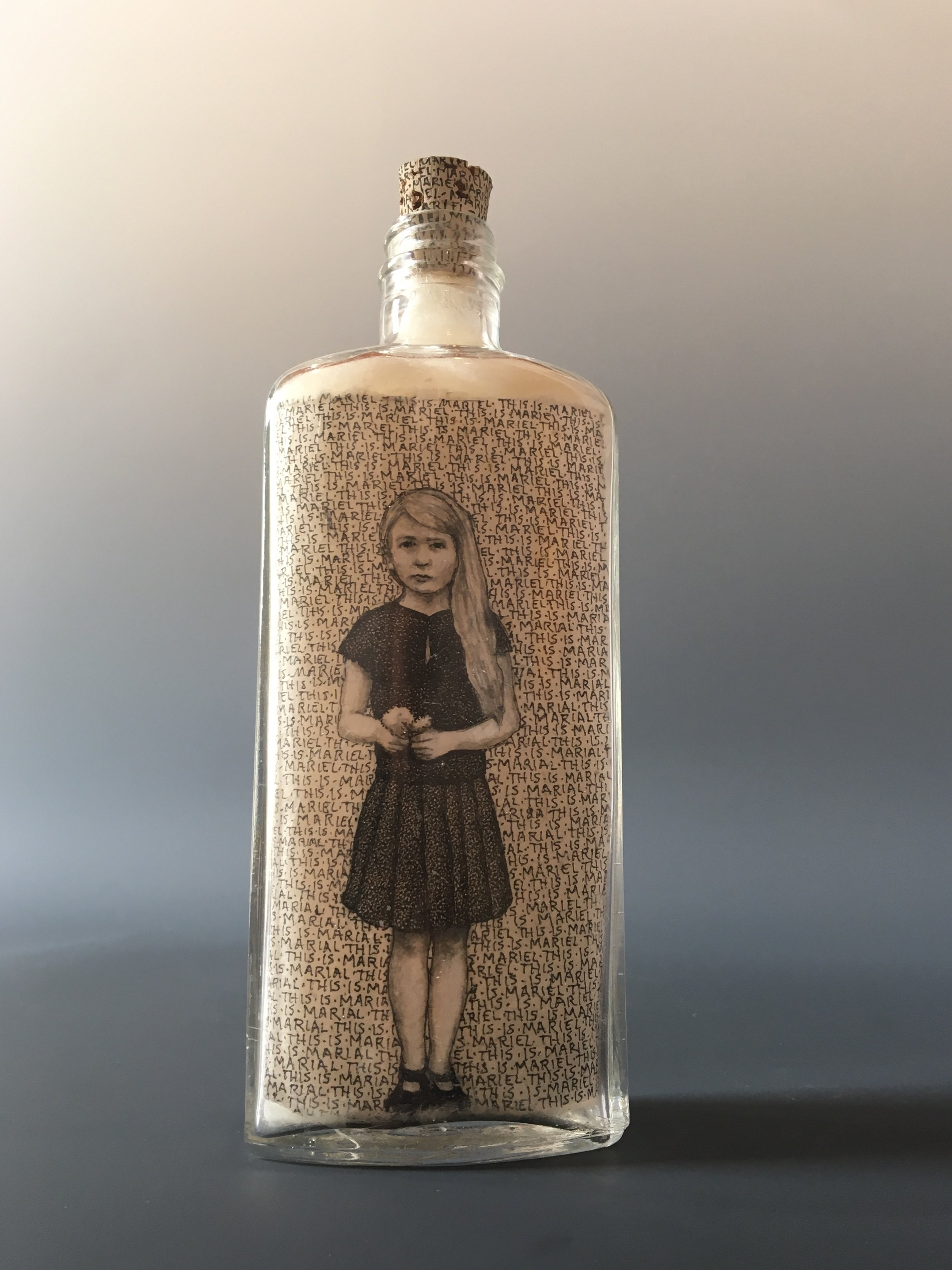 This is Mariel Playing a Part  bottle drawing; ink, graphite, white charcoal on handmade paper, glass bottle, wool