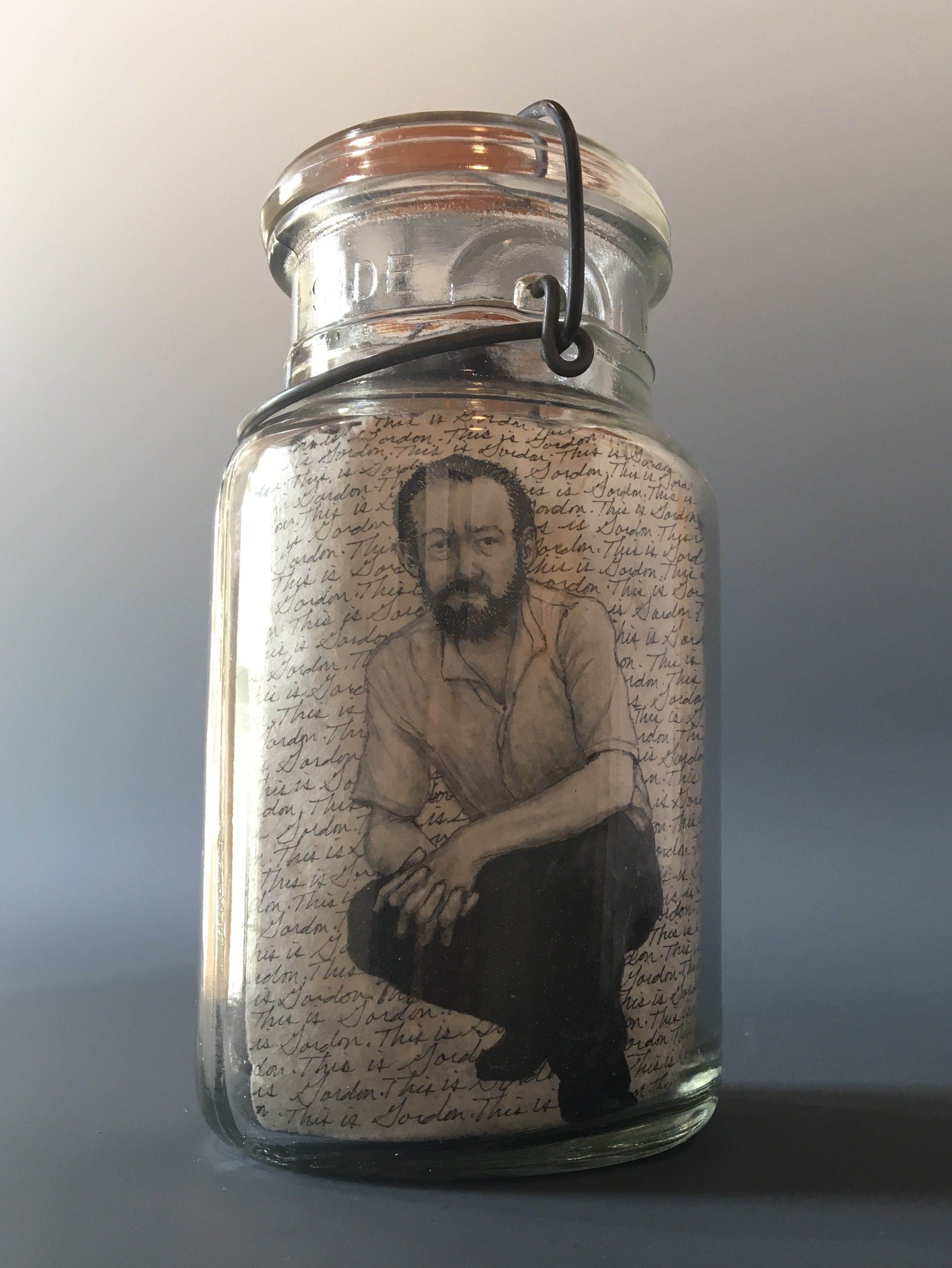 This is Gordon...Losing His Patience  bottle drawing; ink, graphite, white charcoal on handmade paper, glass bottle, wool