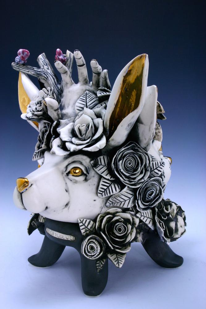 Bunny V.S Dog  porcelain sculpture,H12'' x L13'' x W11
