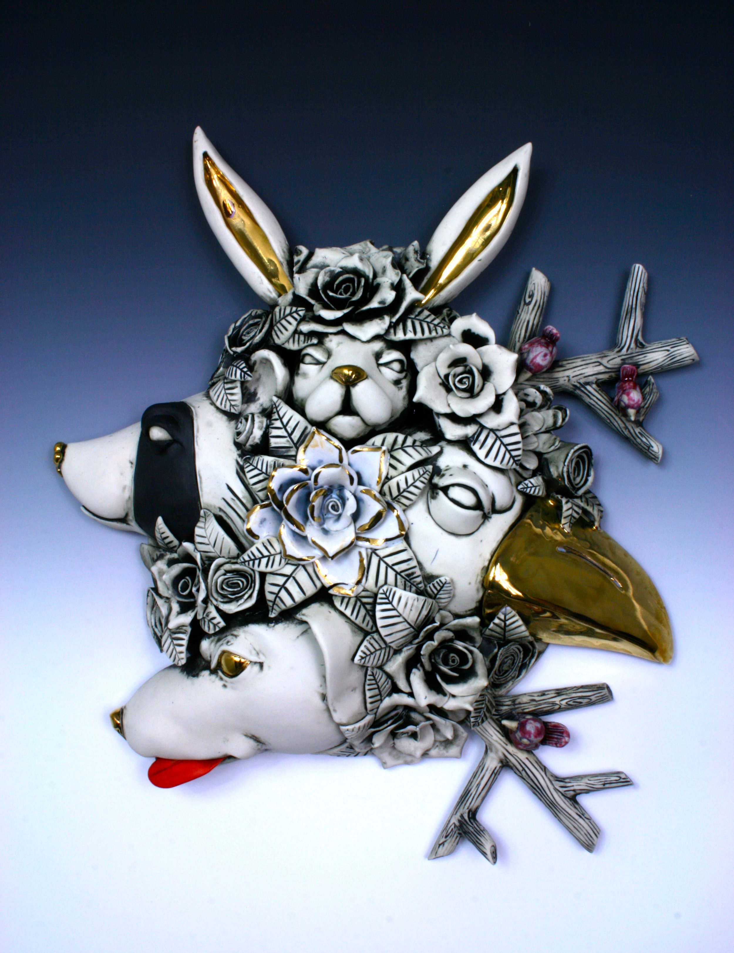 Raccoon on the Rise  porcelain wall hanging,H5'' x L16'' x W17''