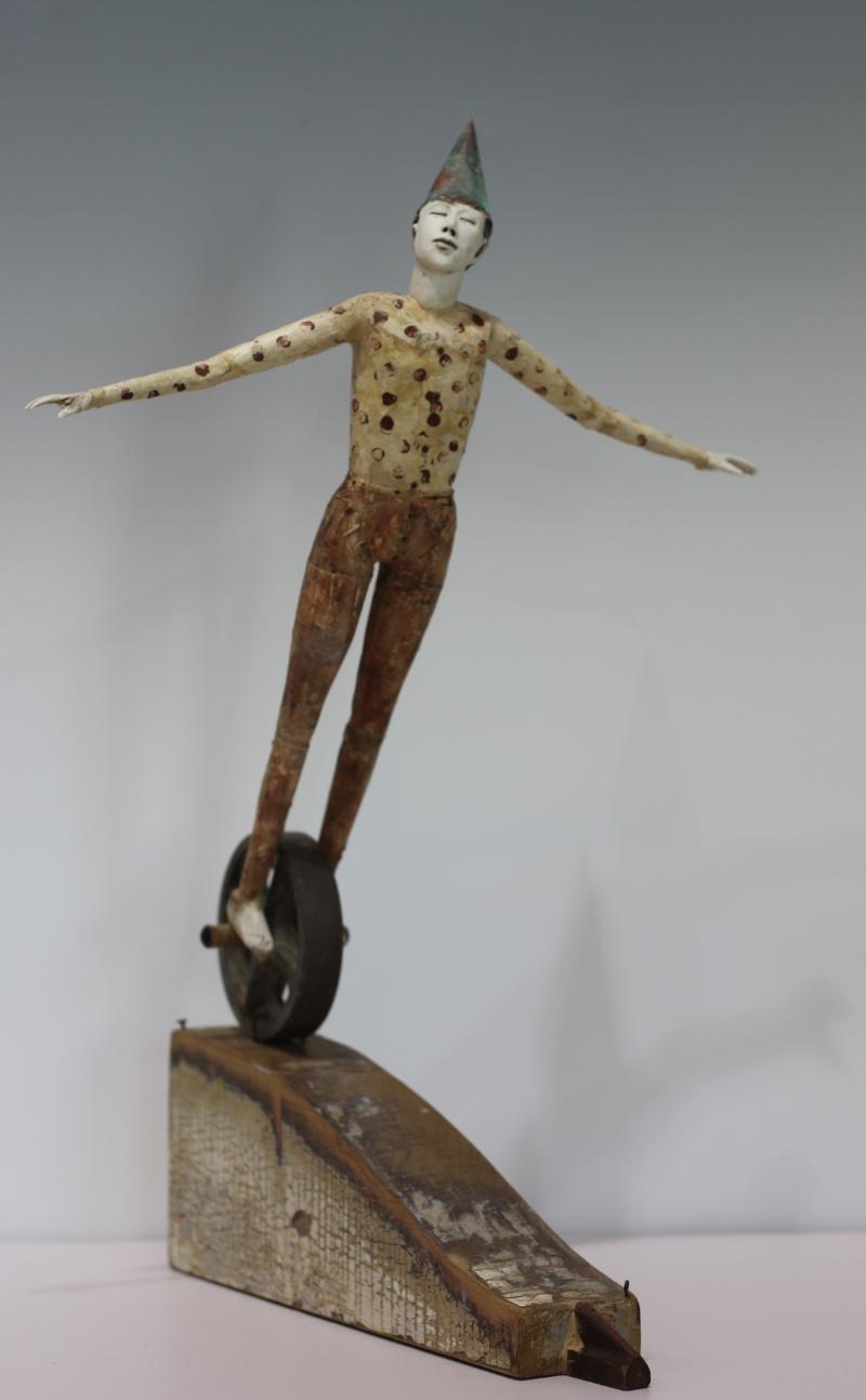 Go  22x15x14, Pedestal Porcelain, altered wood, metal, found object