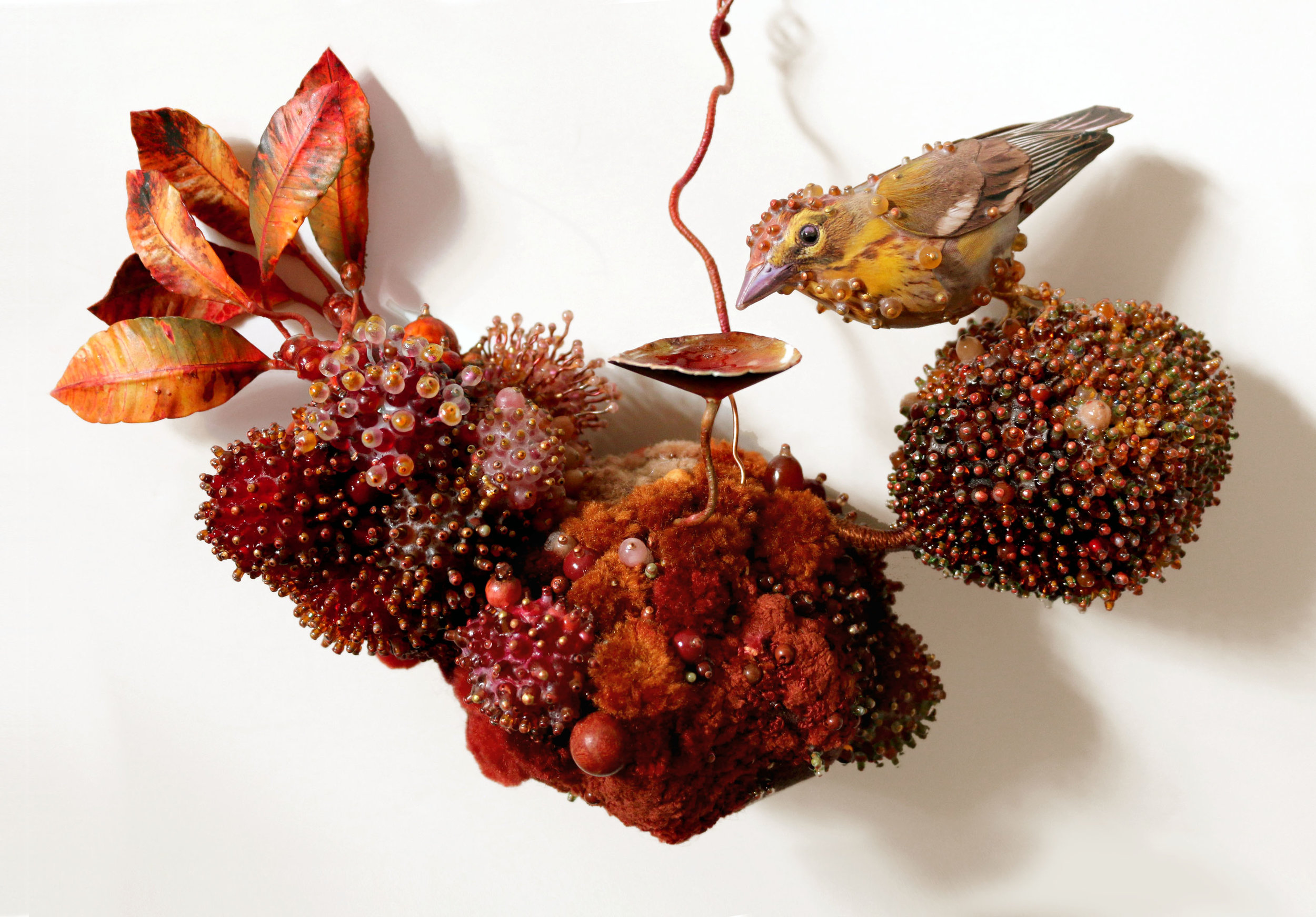 """Palm Warbler's Biotope  11.5x6.5x4"""" Embroidery thread, beads, paper, yarn, wire, velour"""