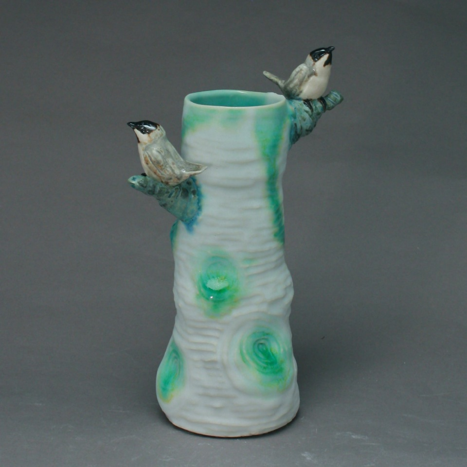 White Tall Tree Vase with Chickadees