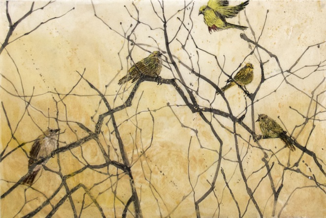 """Song Birds  32x40"""" ink, encaustic and oil pastel on kozo paper"""