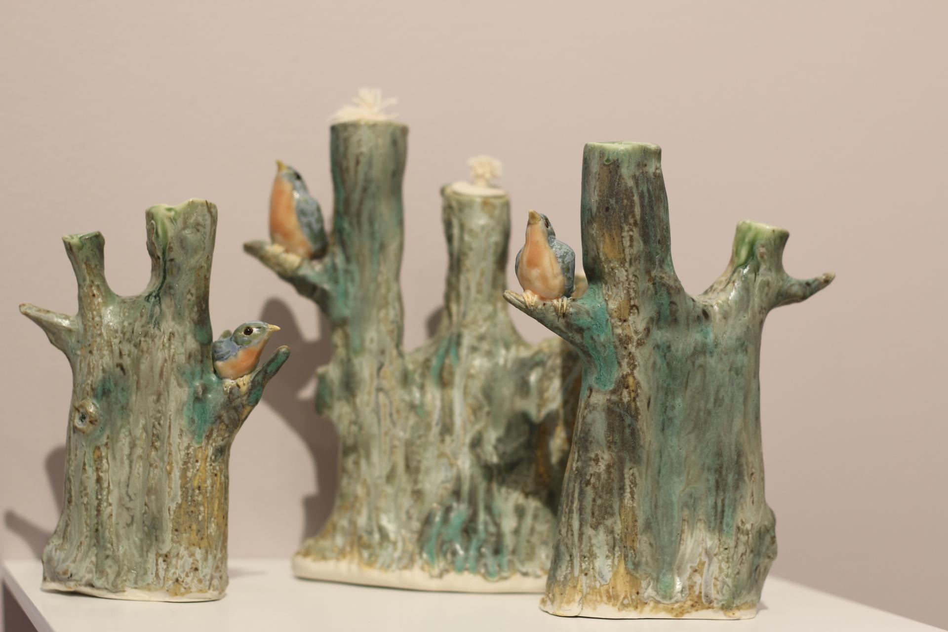 Porcelain Oil Lamp & Vase Set