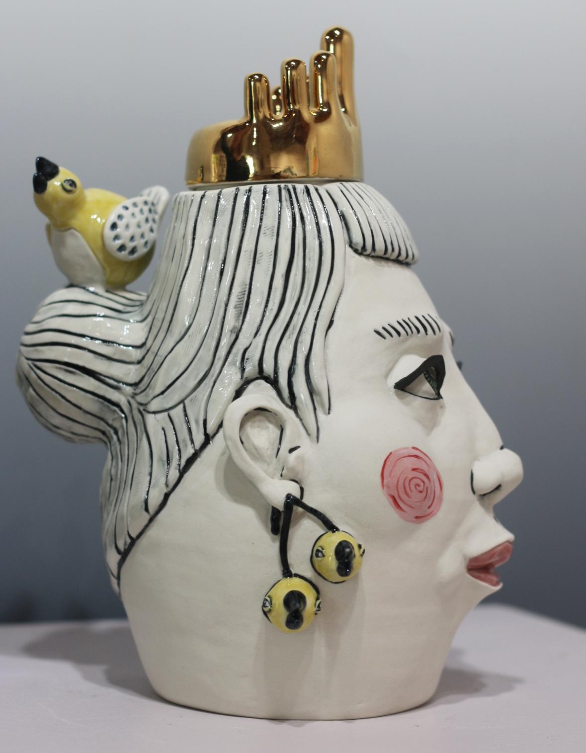 """SOLD The Last of the Bird Earrings (Side View)  11""""Hx9""""Lx7""""W, Porcelain lidded jar"""