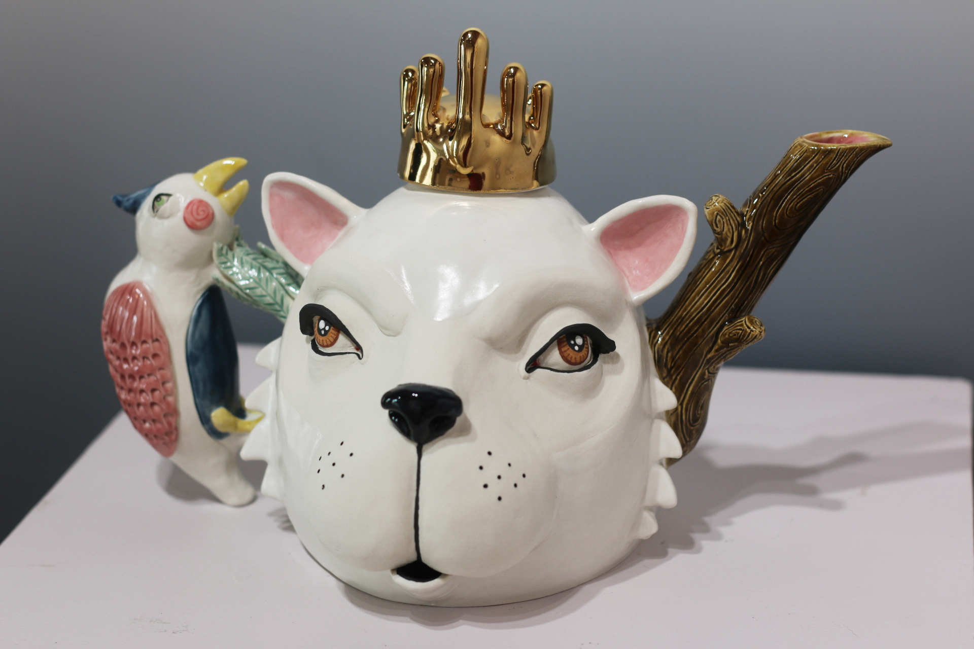 "Little Bird Told Me  9x9x13"", Porcelain teapot"