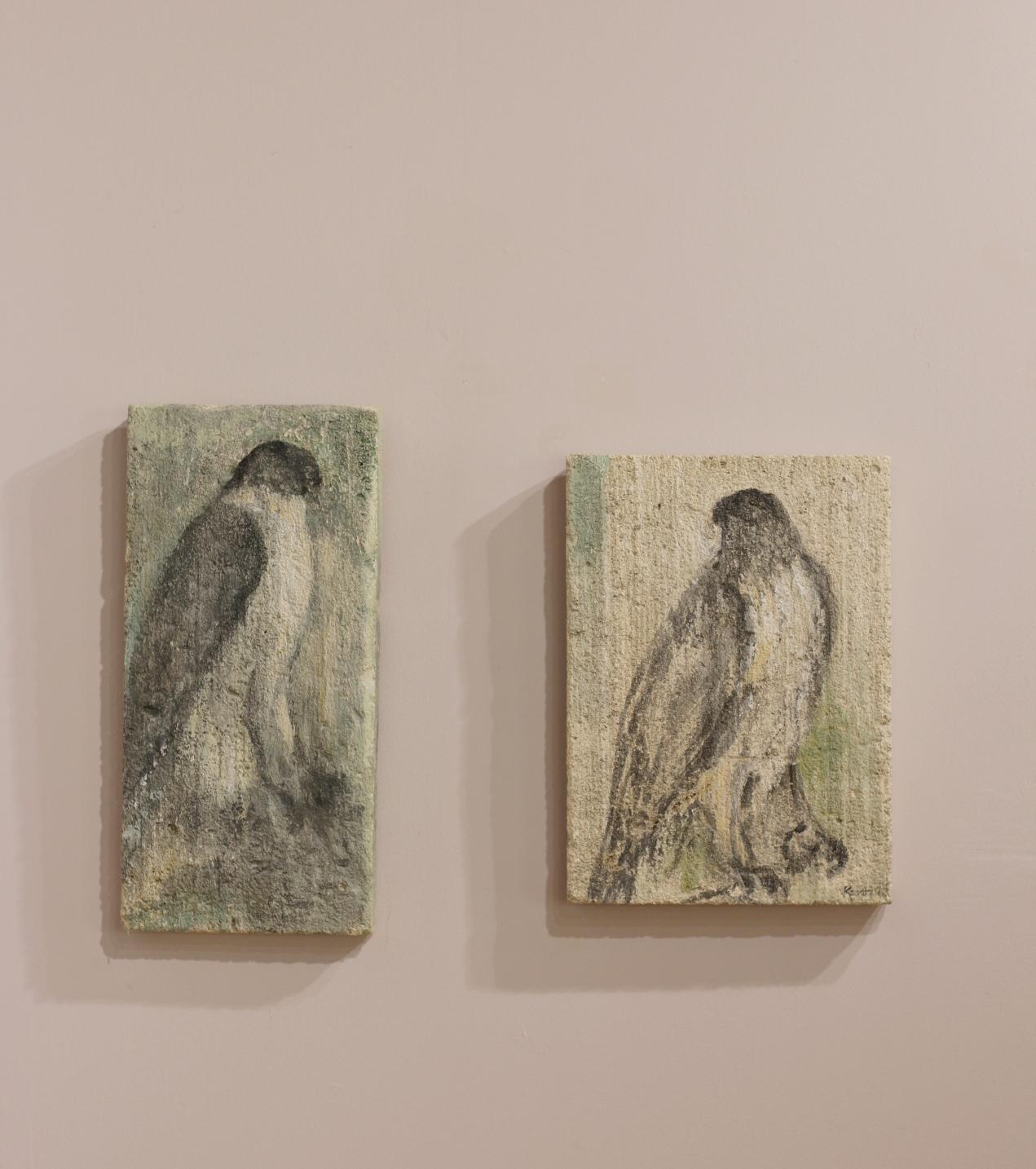 """""""Raptors"""" on limestone tablets by Jane Rosen"""