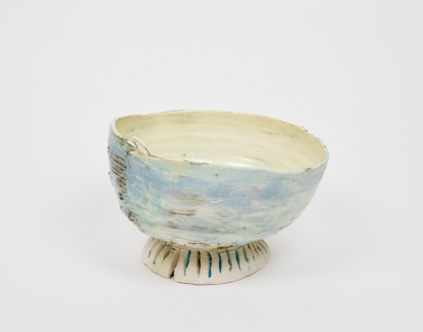 "Blue and Cream Bowl with Porcelain Pedestal 9""x10"""