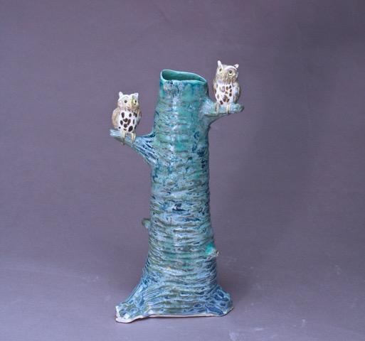 porcelain branch vase with owls