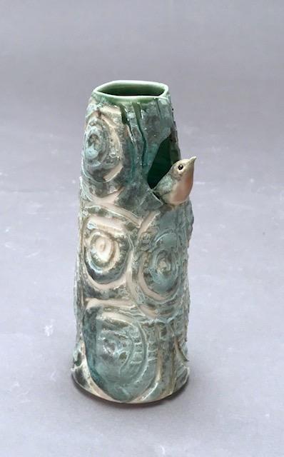 porcelain tree vase with robin