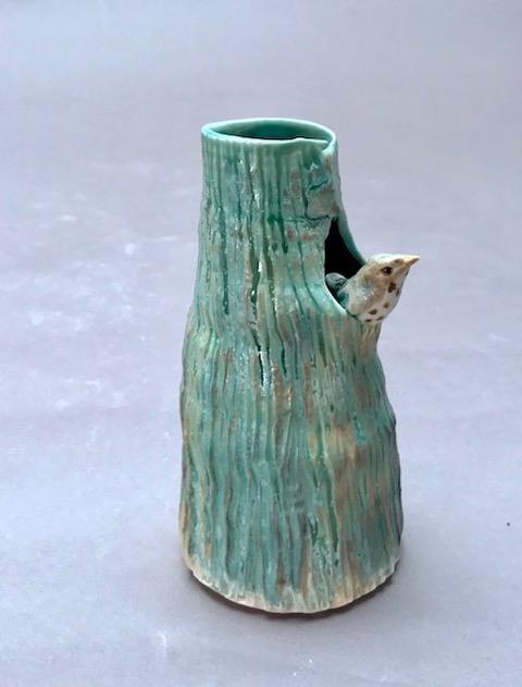 porcelain tree vase with thrush