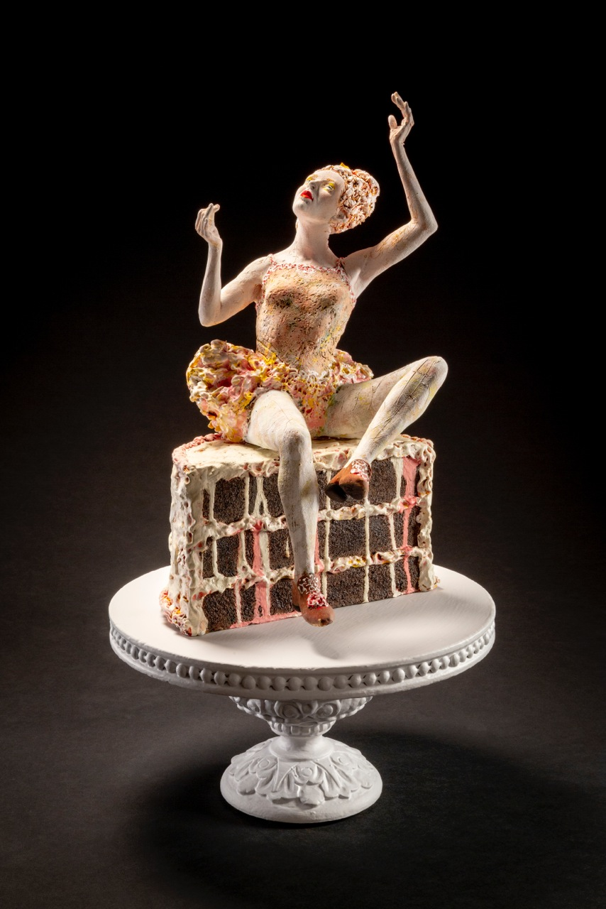 "Sweet and Salty, 27x13x13"" porcelain sculpture, wooden cake plate"