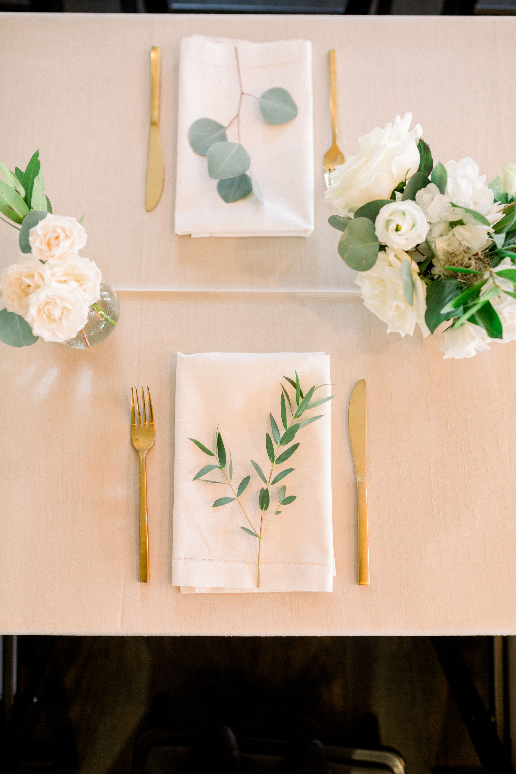 white and greenery wedding place setting