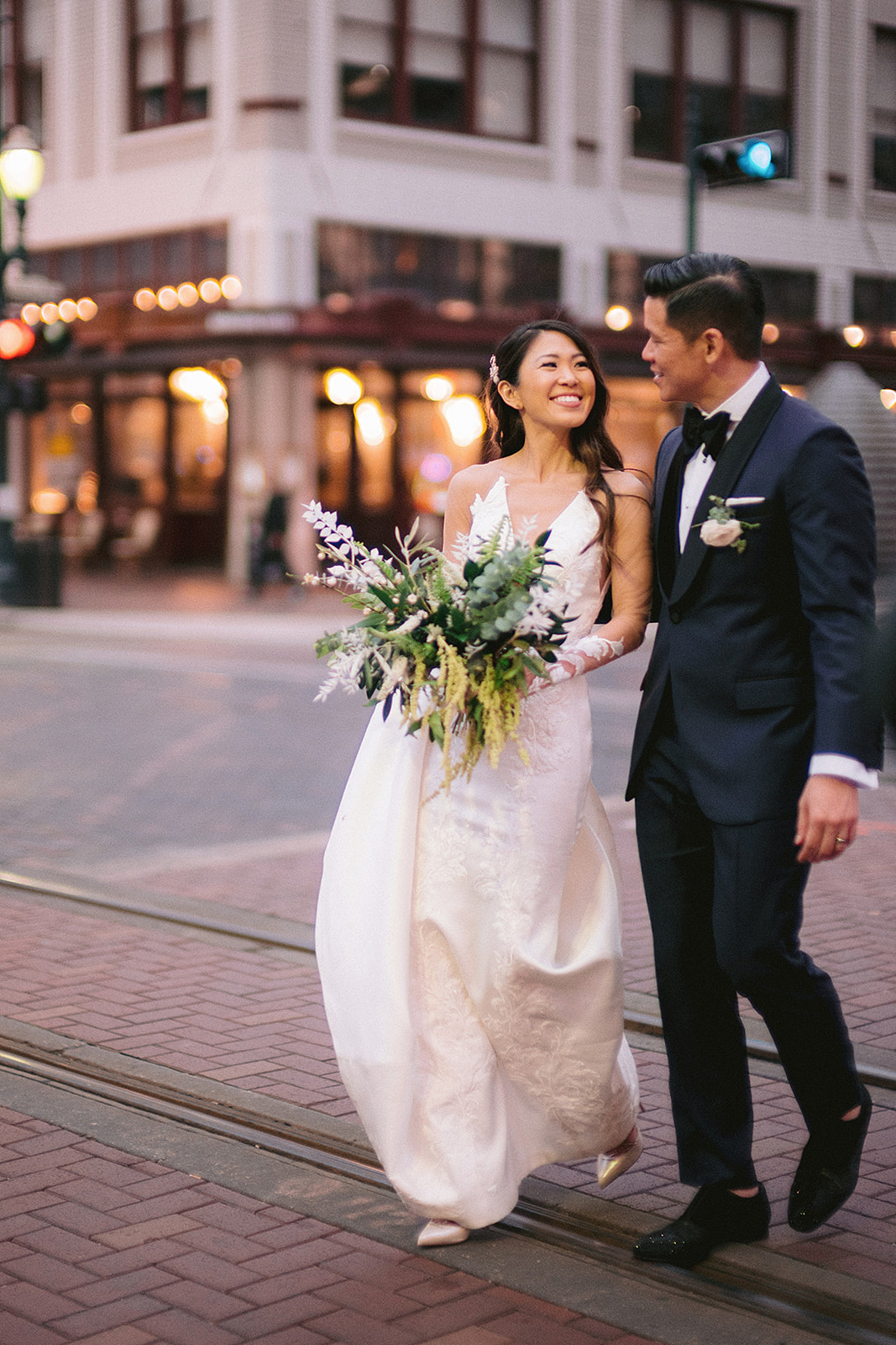 For Michelle and Soo's Modern Luxe wedding in the heart of downtown Houston, Spell Events…black and white bride and groom portraits