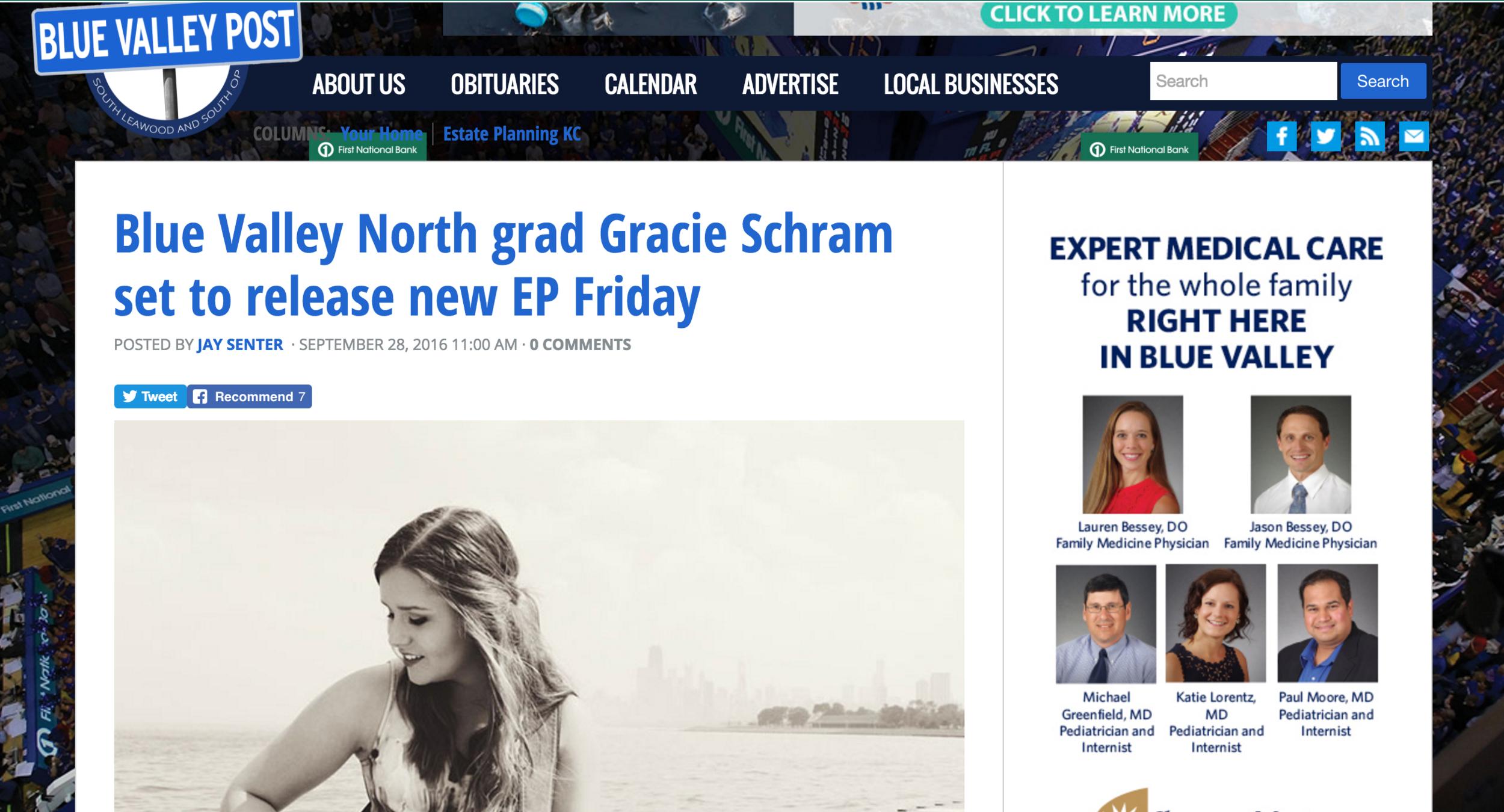 Gracie Schram - Blue Valley Post