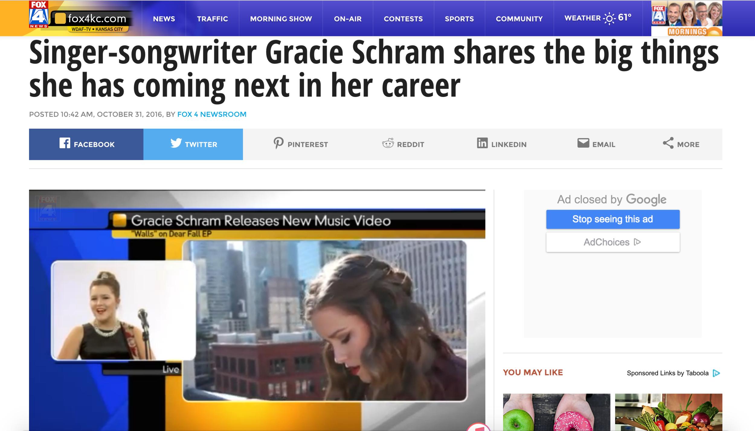 Gracie Schram Fox4KC