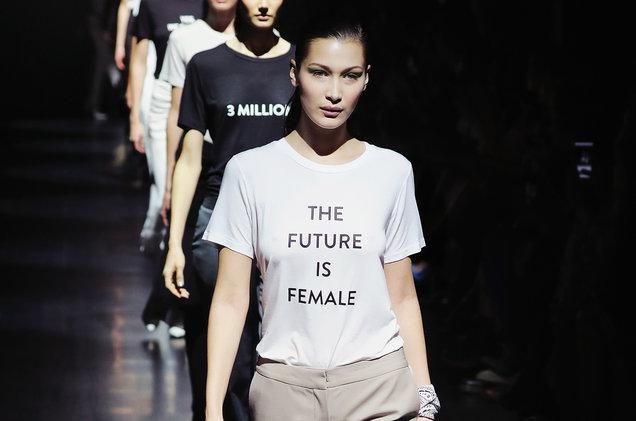 Bella Hadid sporting Prabal Gurung's feminist shirt at his 2016 New York Fashion Week Show.