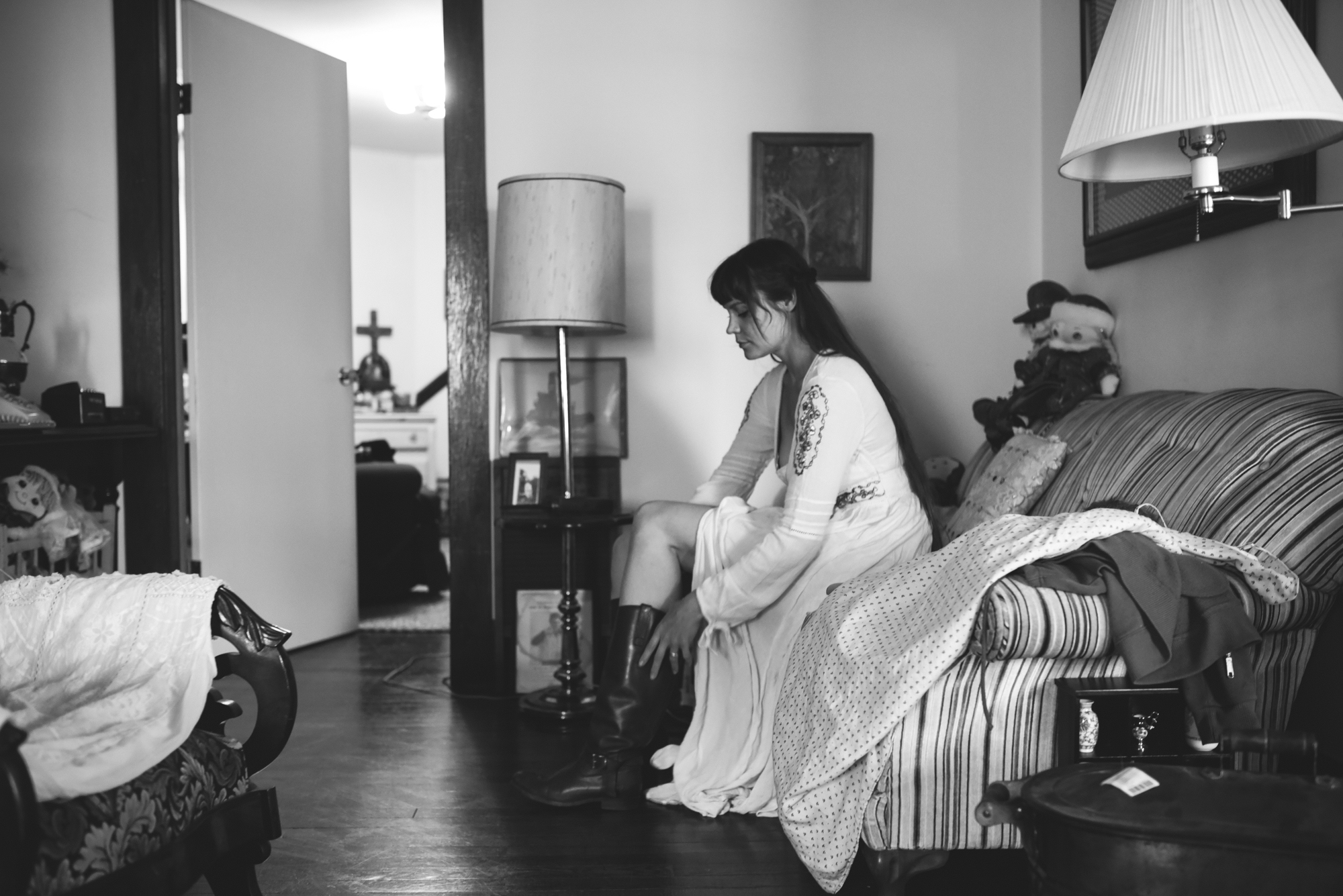 Mountains, Outdoors, Rustic, West Virginia, Maryland Wedding Photographer, DIY, Casual, Bride getting ready before ceremony, Bride wearing cowboy boots, Black and White Photos