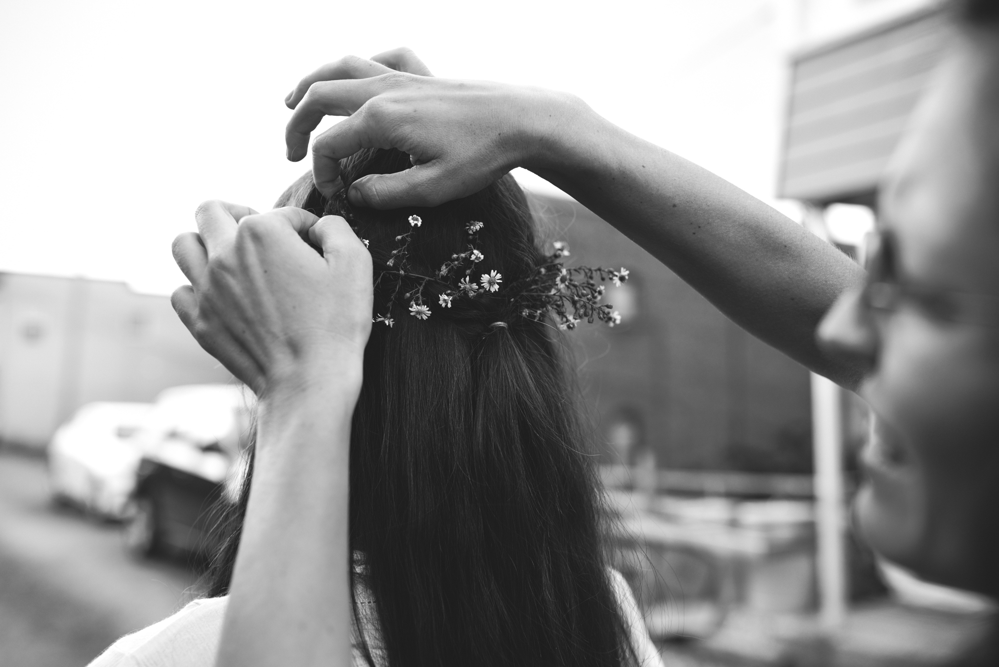 Mountains, Outdoors, Rustic, West Virginia, Maryland Wedding Photographer, DIY, Casual, Black and White Photo, Baby's Breath in Hair, Bride getting ready