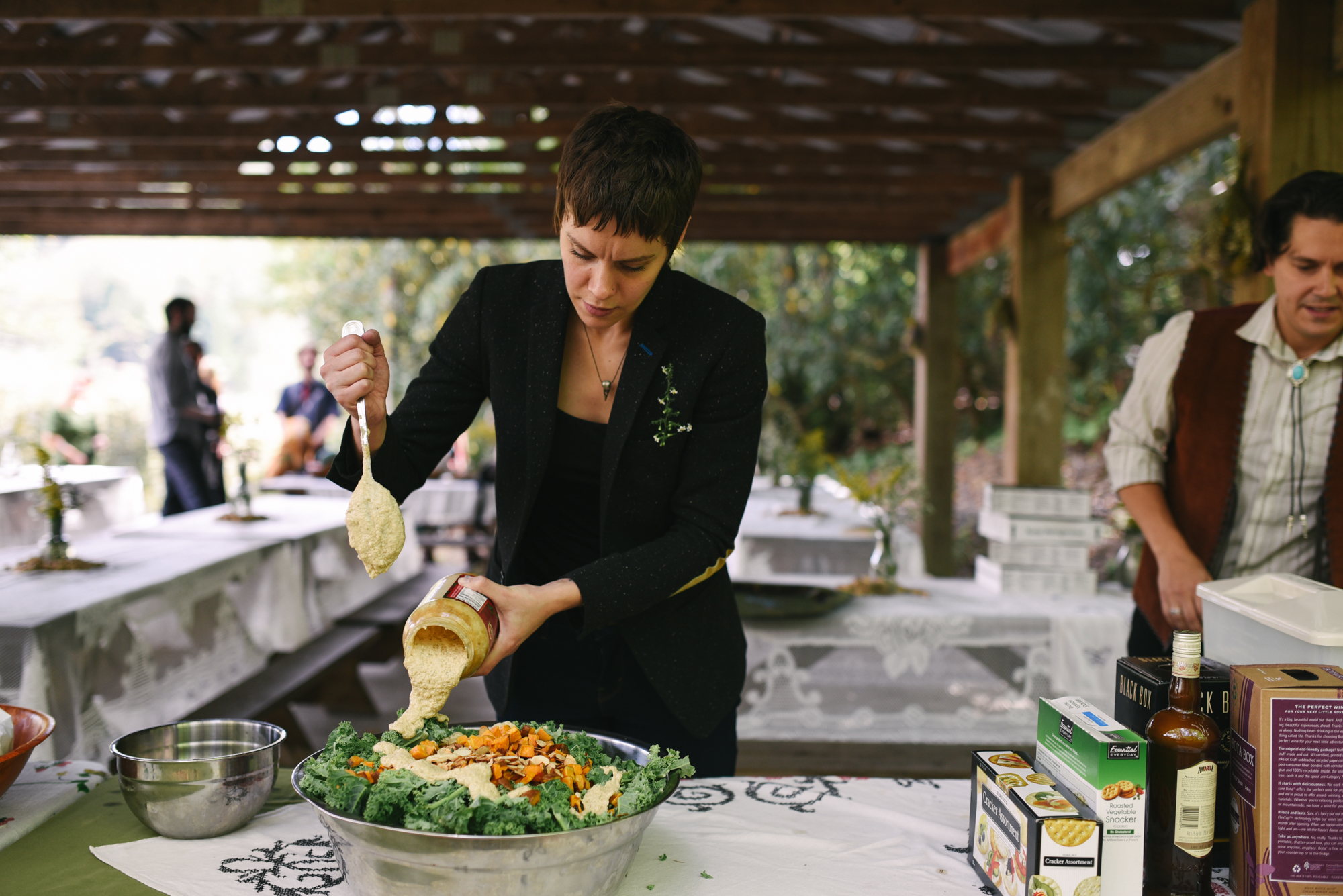 Mountain Wedding, Outdoors, Rustic, West Virginia, Maryland Wedding Photographer, DIY, Casual, Family prepping food for reception