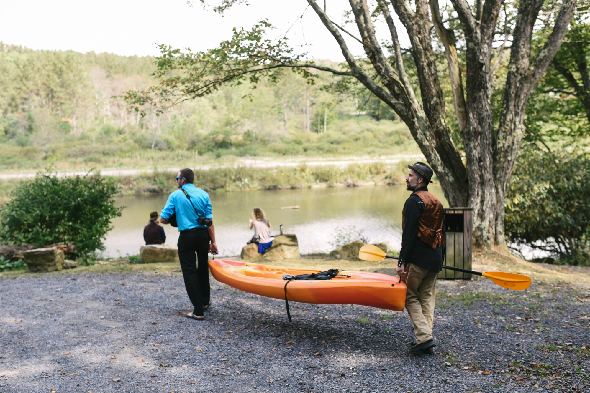 Mountain Wedding, Outdoors, Rustic, West Virginia, Maryland Wedding Photographer, DIY, Casual, Guests getting kayak, Blackwater River