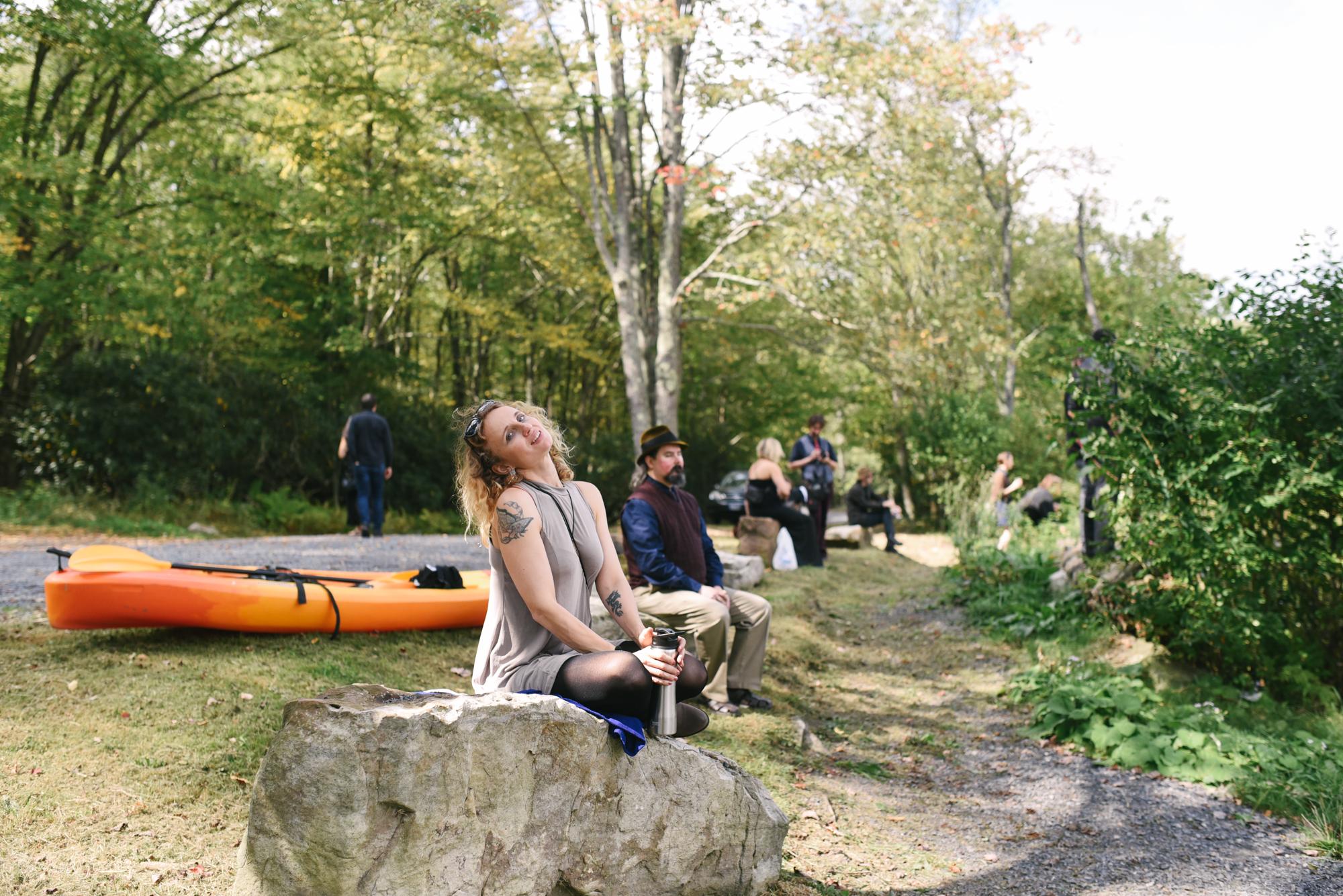 Mountain Wedding, Outdoors, Rustic, West Virginia, Maryland Wedding Photographer, DIY, Casual, Wedding guests sitting on rocks along hiking trail