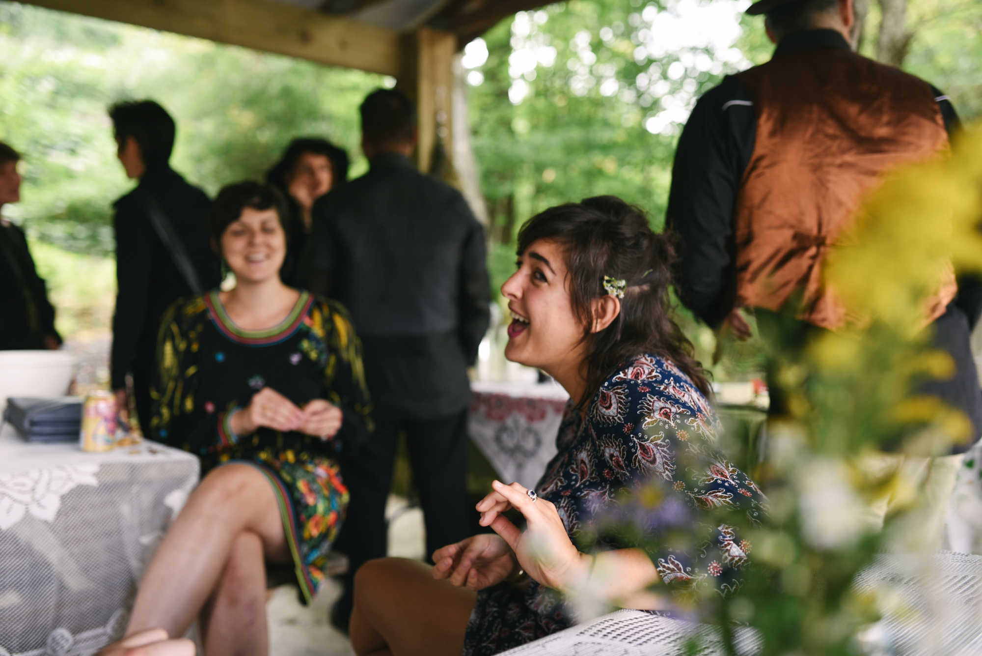 Mountain Wedding, Outdoors, Rustic, West Virginia, Maryland Wedding Photographer, DIY, Casual, Guests laughing and chatting outdoors