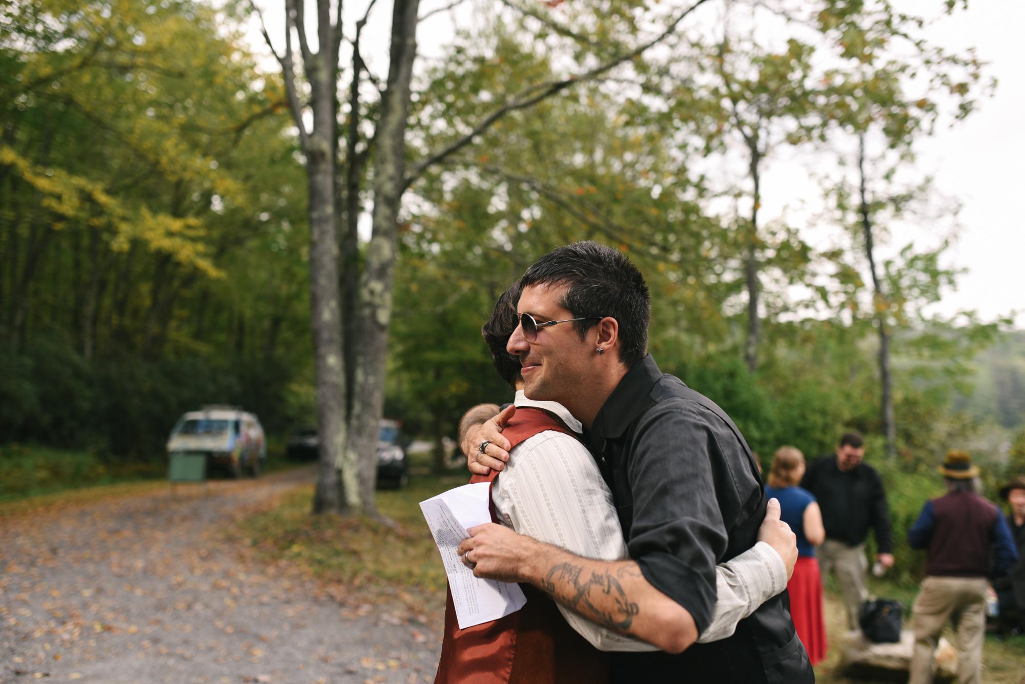 Mountain Wedding, Outdoors, Rustic, West Virginia, Maryland Wedding Photographer, DIY, Casual, Groom greeting guests