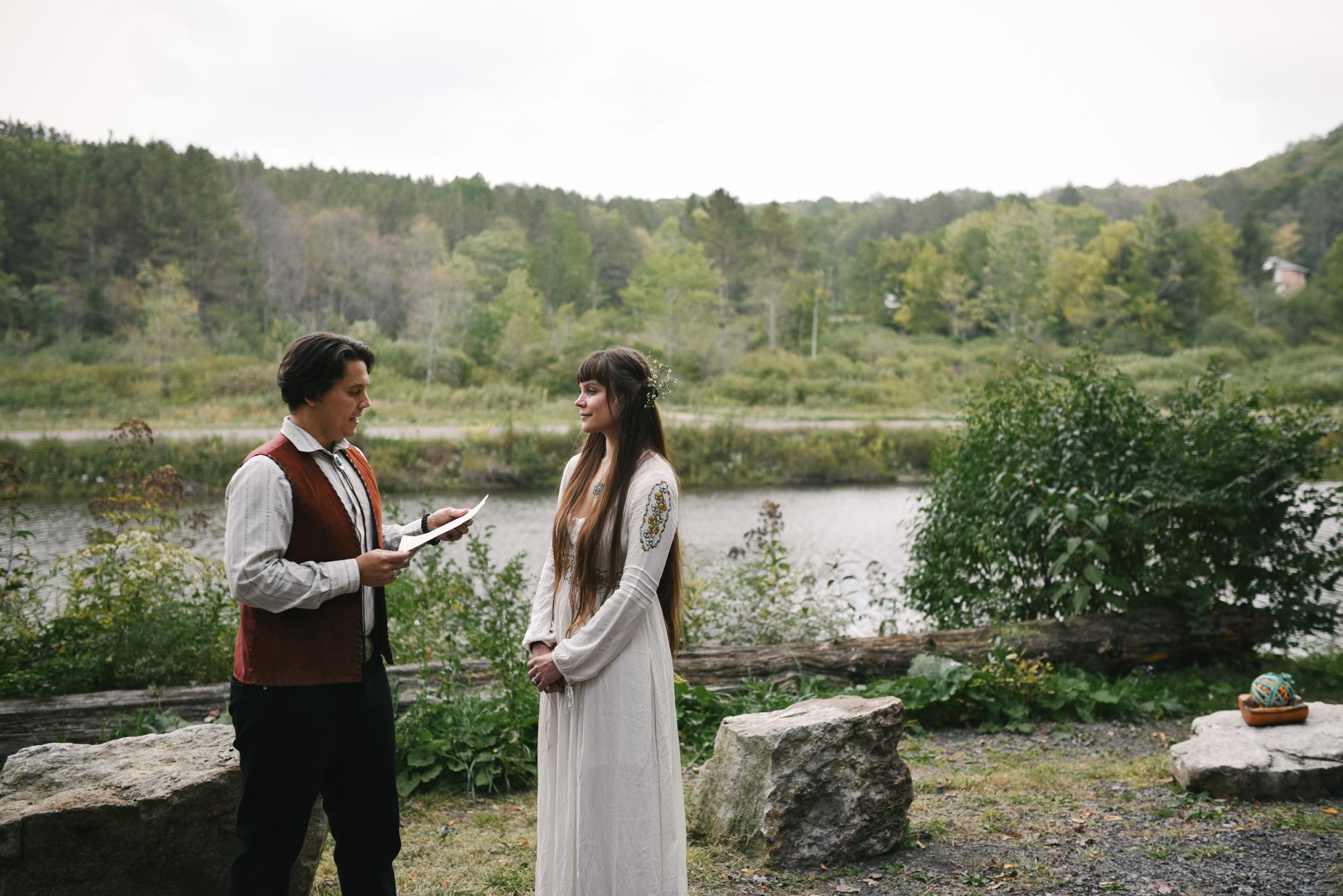 Mountain Wedding, Outdoors, Rustic, West Virginia, Maryland Wedding Photographer, DIY, Casual, Bride and Groom exchanging vows, boho wedding