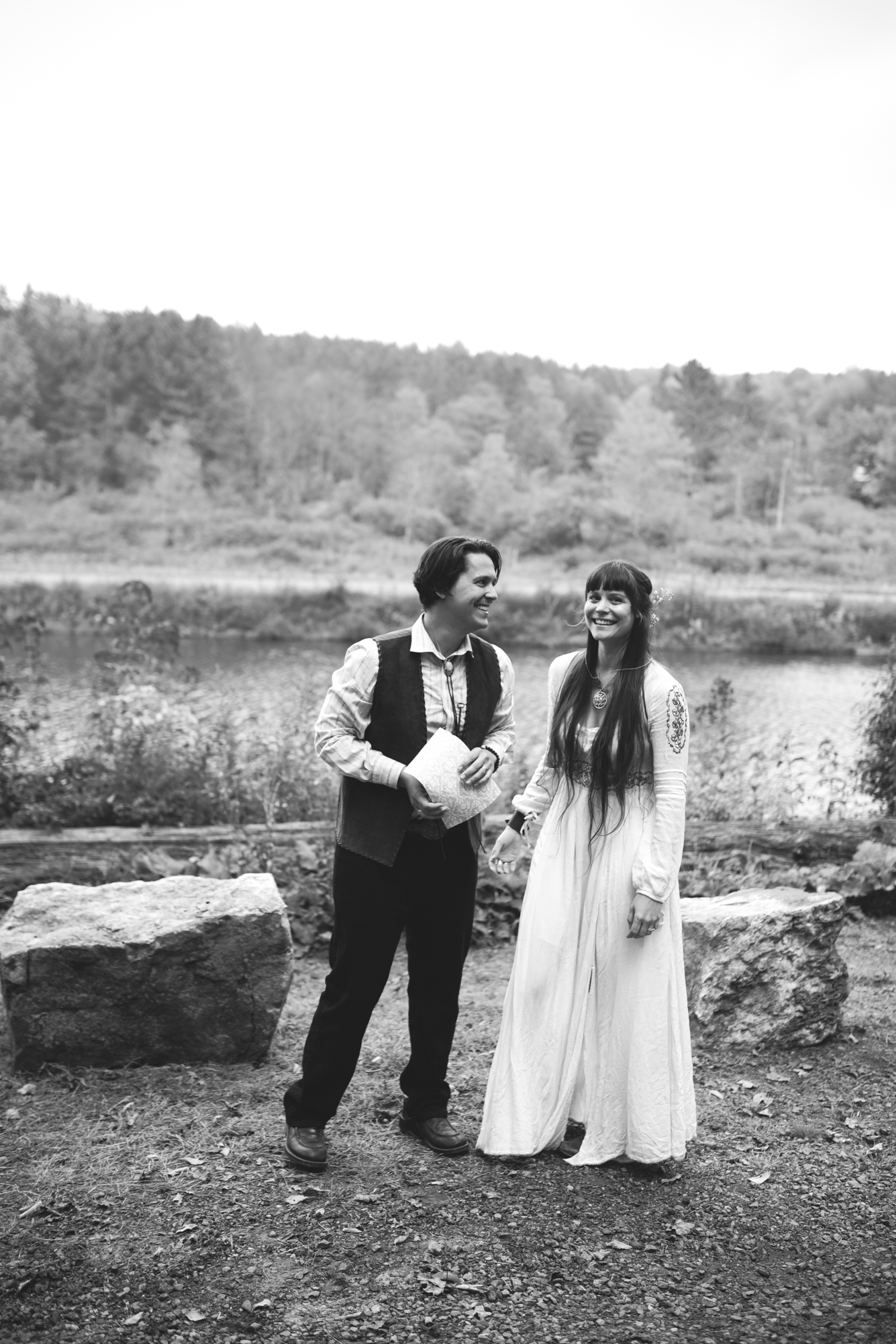 Mountain Wedding, Outdoors, Rustic, West Virginia, Maryland Wedding Photographer, DIY, Casual, Bride and groom laughing together, just married, black and white photo