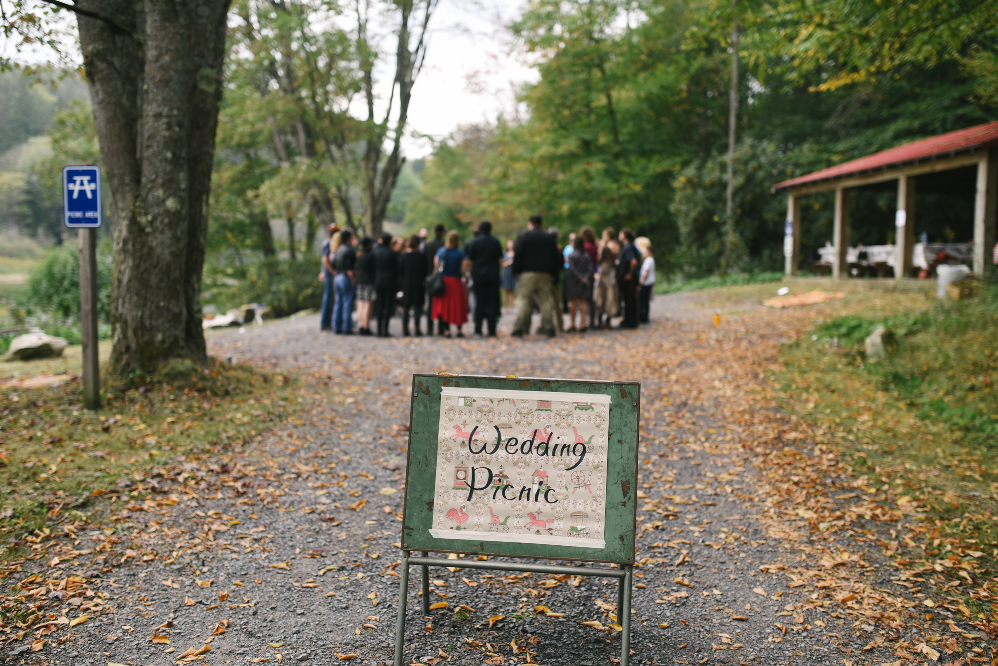 Mountain Wedding, Outdoors, Rustic, West Virginia, Maryland Wedding Photographer, DIY, Casual, Signage for Wedding Picnic, Guests gathered outside