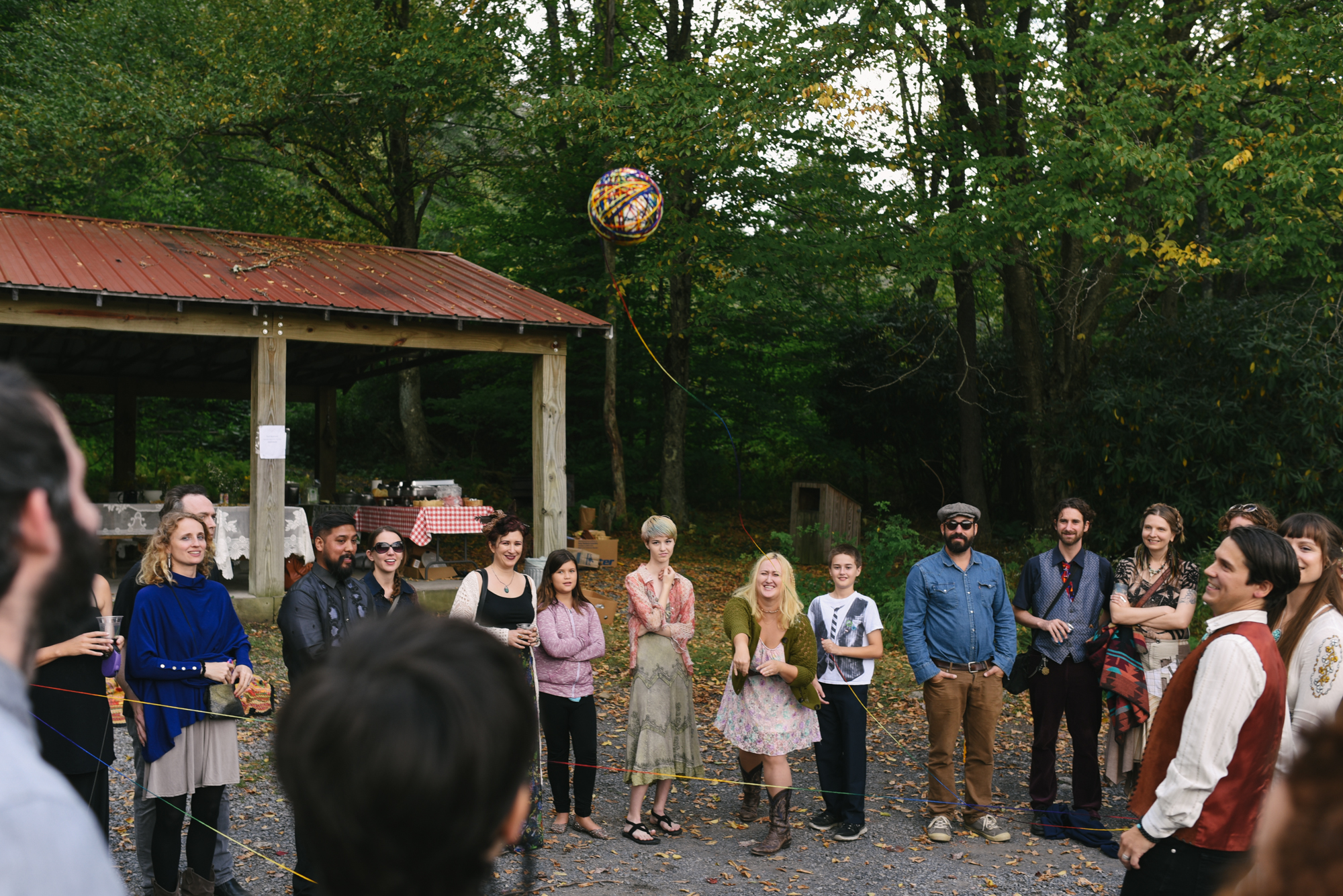 Mountain Wedding, Outdoors, Rustic, West Virginia, Maryland Wedding Photographer, DIY, Casual, yarn weaving ceremony with guests