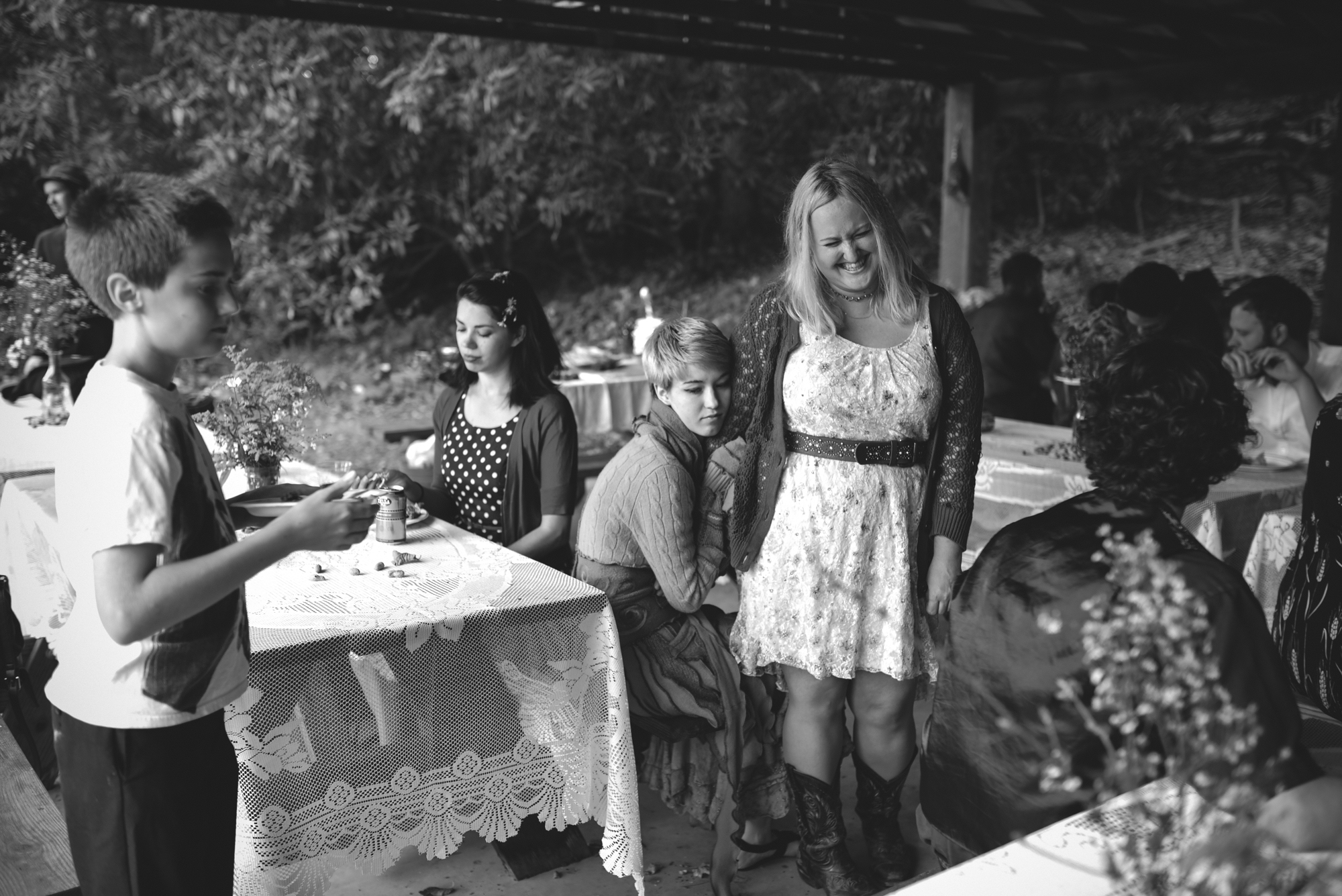 Mountain Wedding, Outdoors, Rustic, West Virginia, Maryland Wedding Photographer, DIY, Casual, wedding guests at reception, black and white photo
