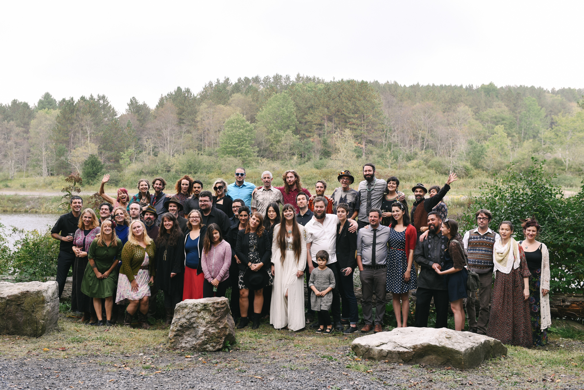 Mountain Wedding, Outdoors, Rustic, West Virginia, Maryland Wedding Photographer, DIY, Casual, group photo of bride and wedding guests