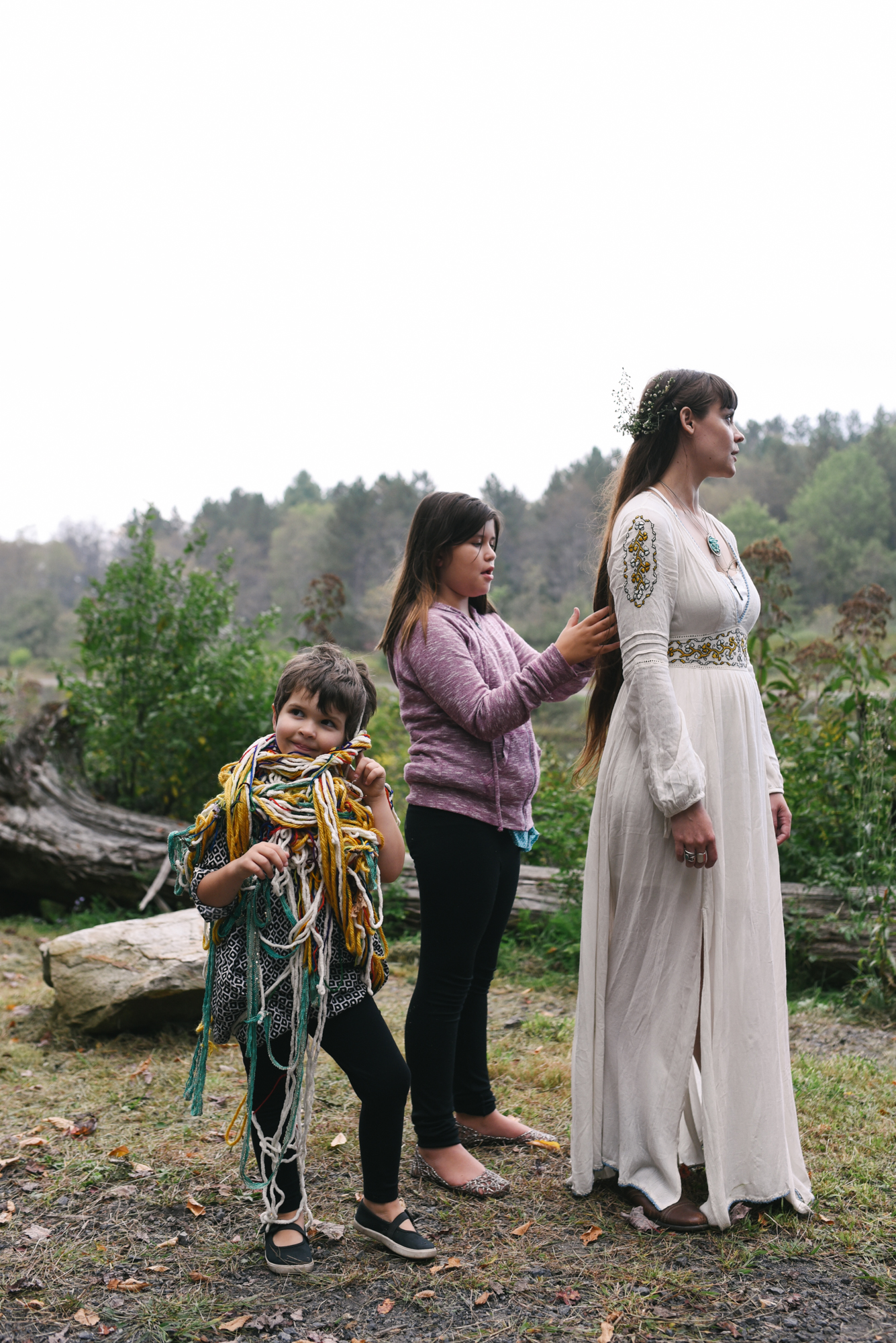 Mountain Wedding, Outdoors, Rustic, West Virginia, Maryland Wedding Photographer, DIY, Casual, Kids playing with bride's hair, embroidered wedding dress, boho