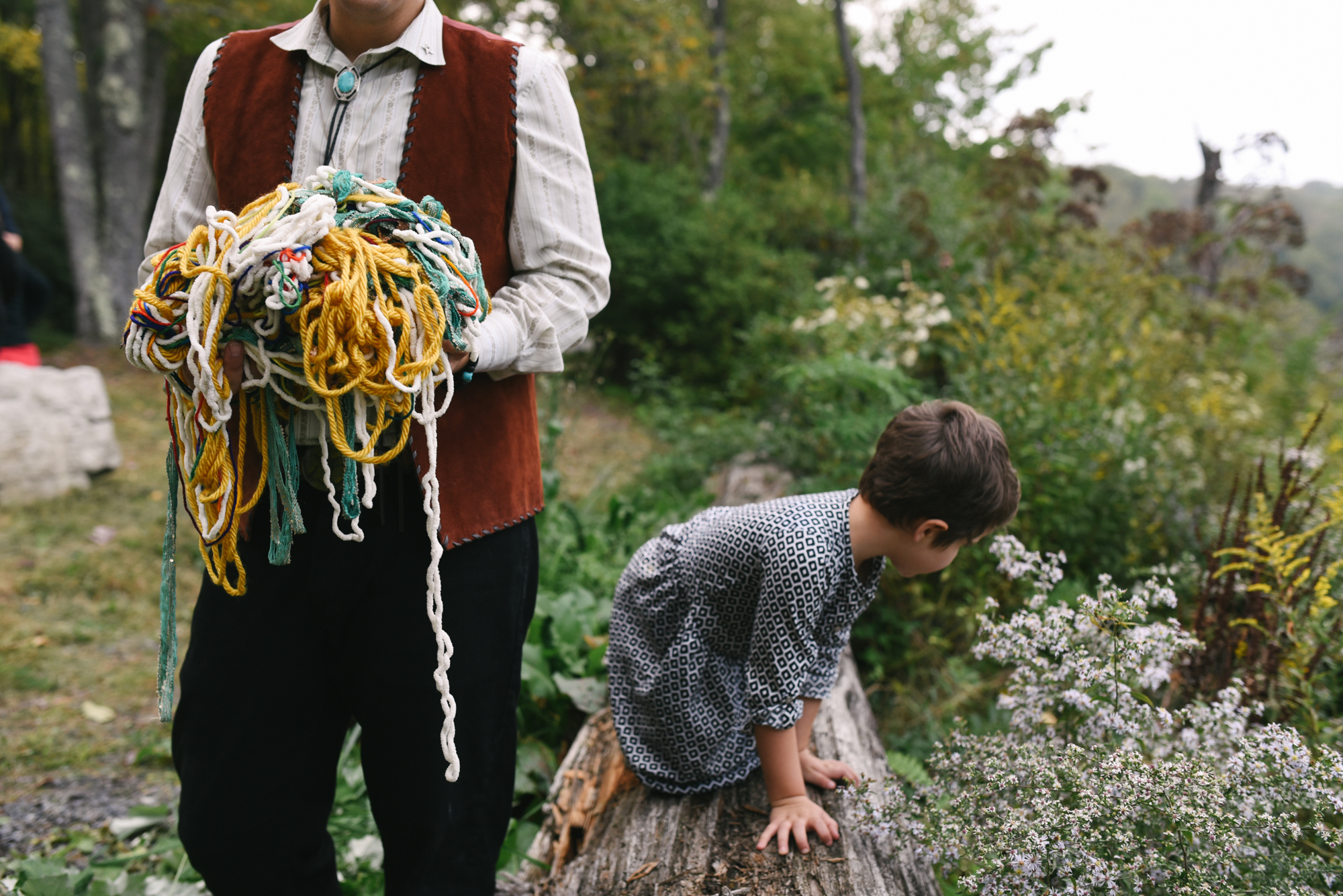 Mountain Wedding, Outdoors, Rustic, West Virginia, Maryland Wedding Photographer, DIY, Casual, groom gathering yarn with little girl